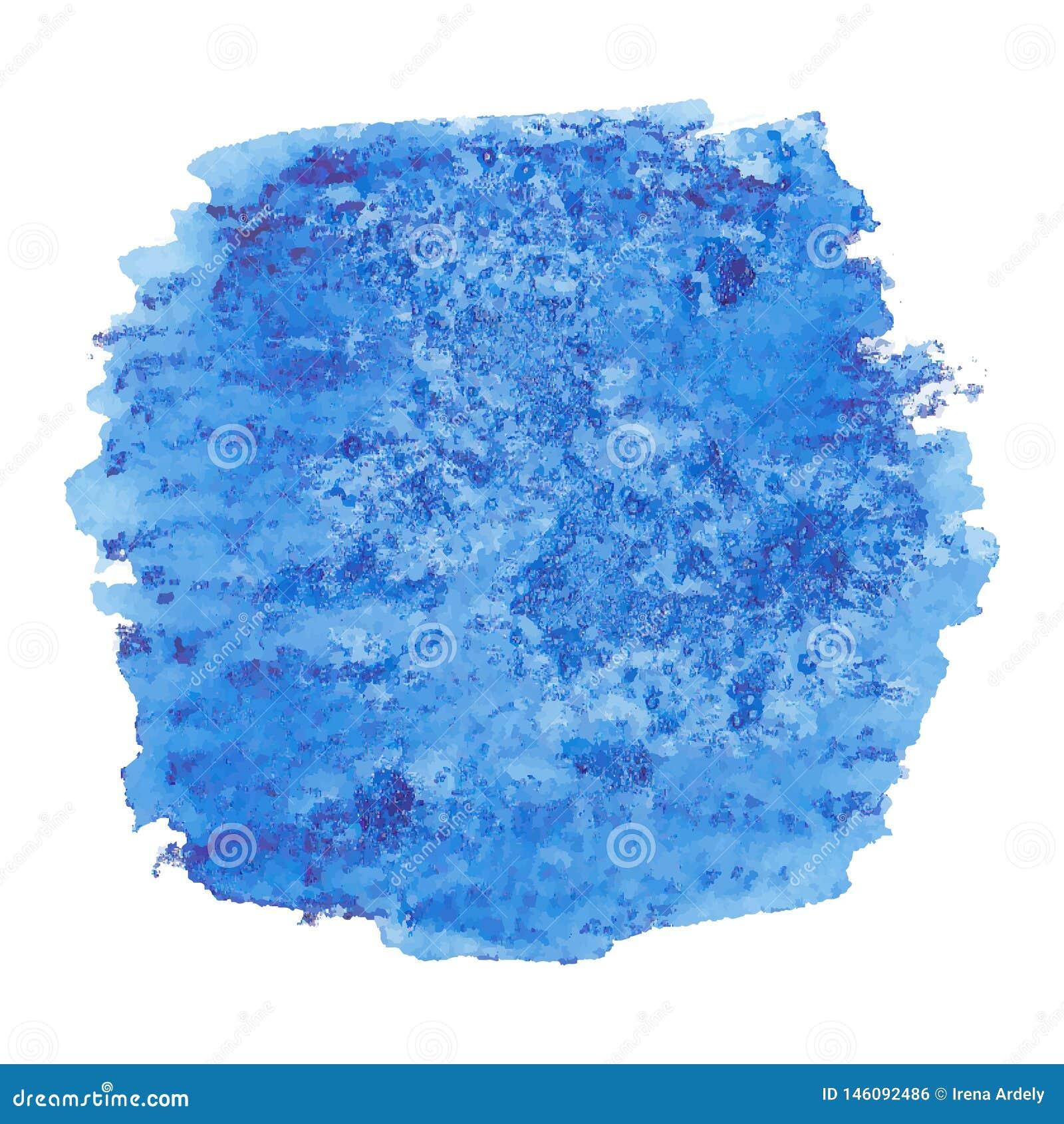 De vectorhand schilderde waterverf diep het schilderen - de gekleurde die vlek van het jeansdenim blauw op witte achtergrond word