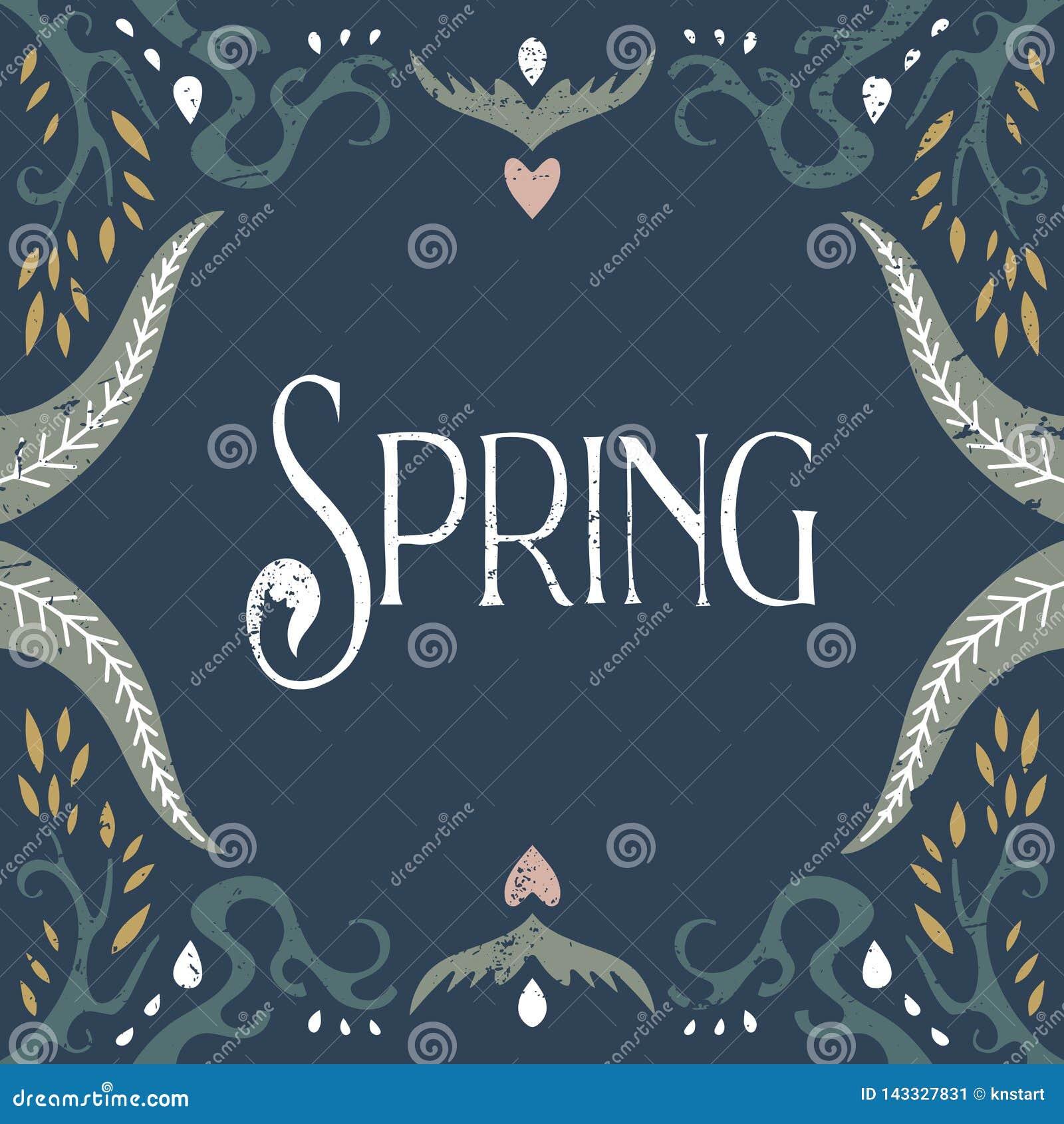 De vectorhand voorzag kalligrafische uitstekende prentbriefkaar, bloemenkader, moderne art decostijl, sjofele elegant van letters