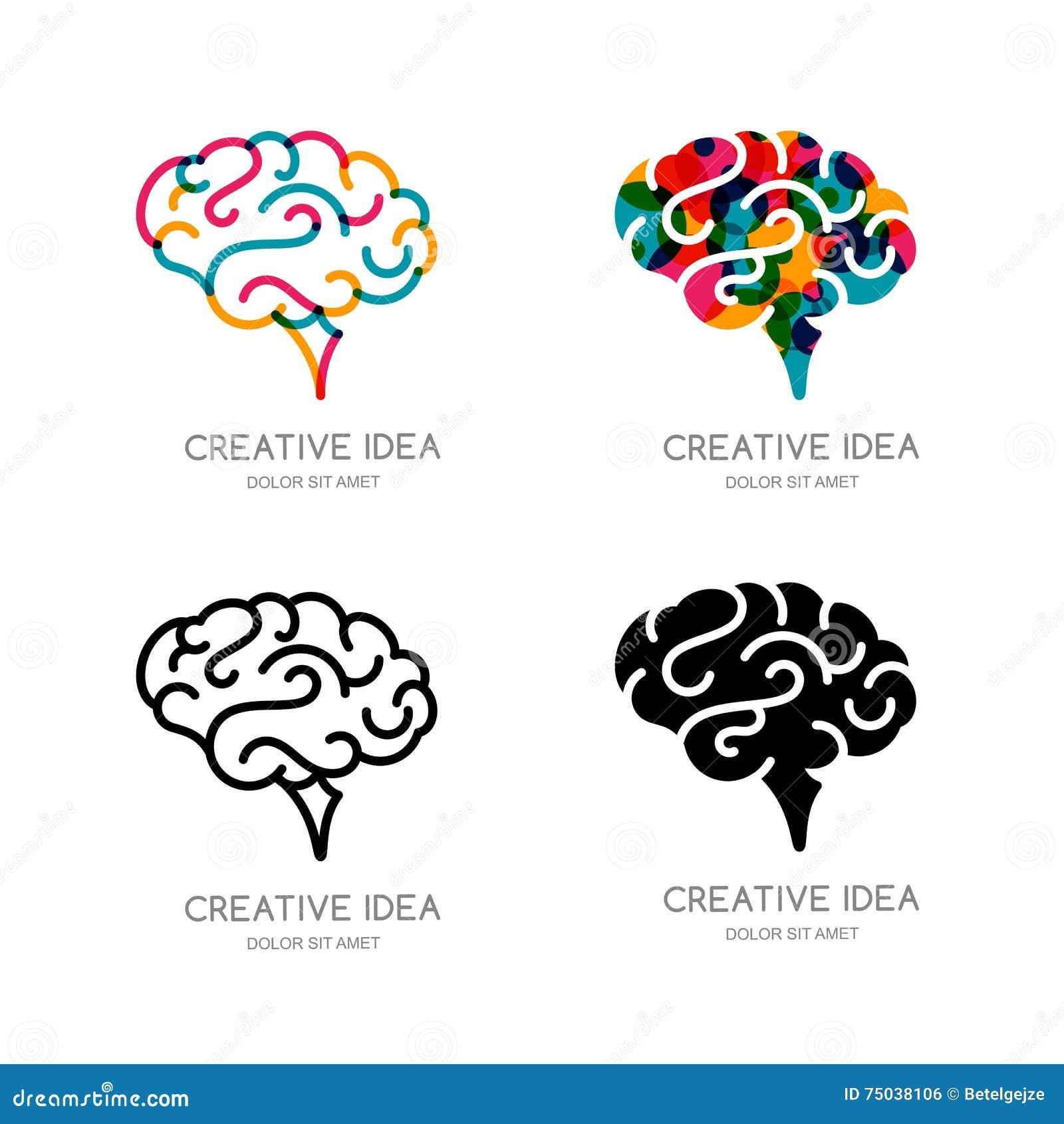 De vectorhersenenembleem, teken, of elementen van het embleemontwerp De menselijke hersenen van de overzichtskleur, geïsoleerd pi