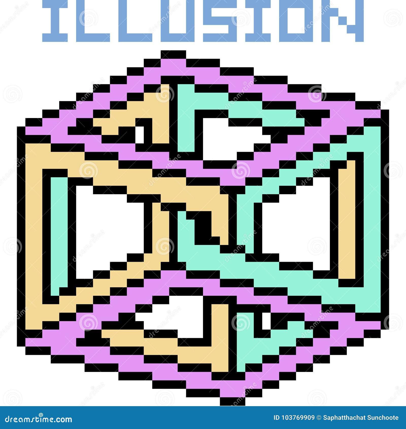 De vectorillusie van de pixelkunst