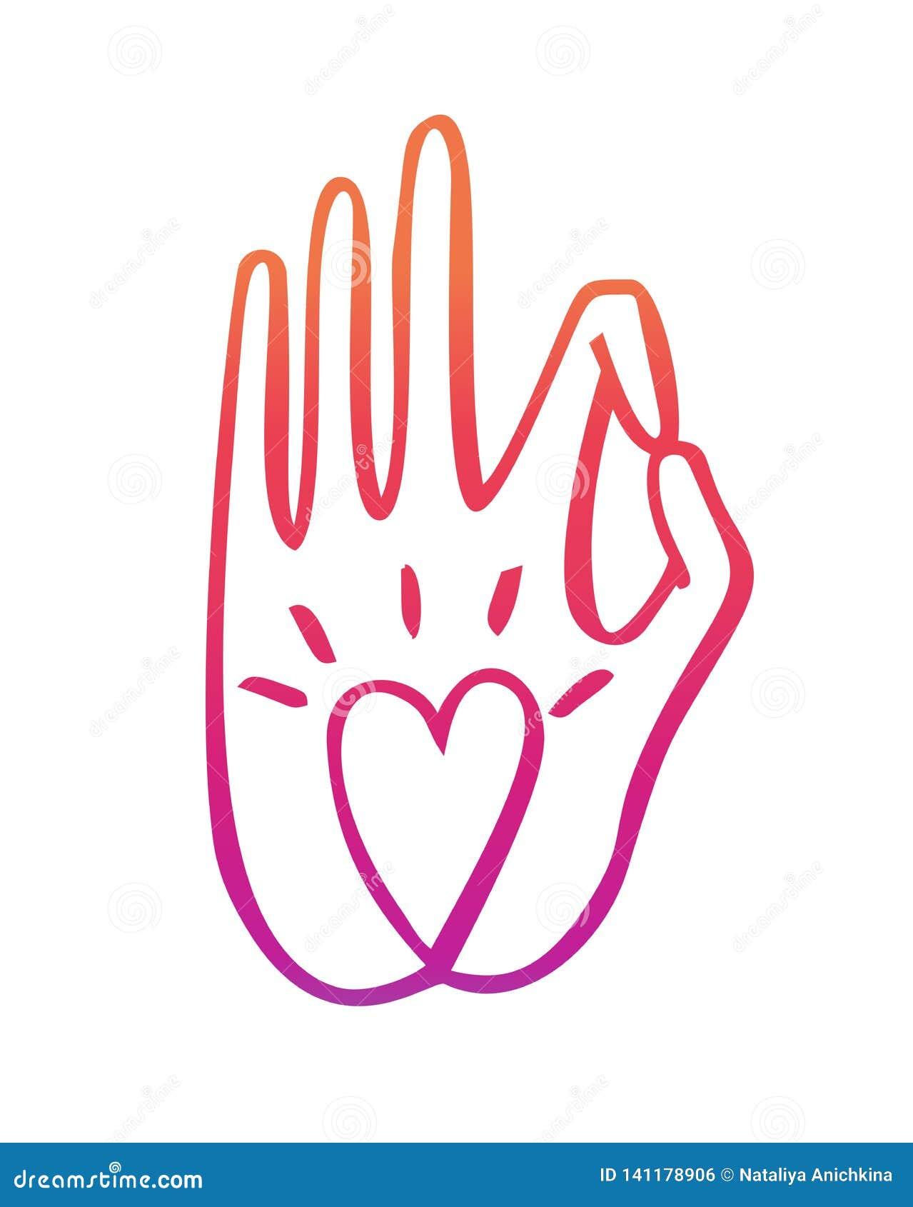 De vectorillustratie van dient een boeddhistisch gebaar met een hartsymbool in