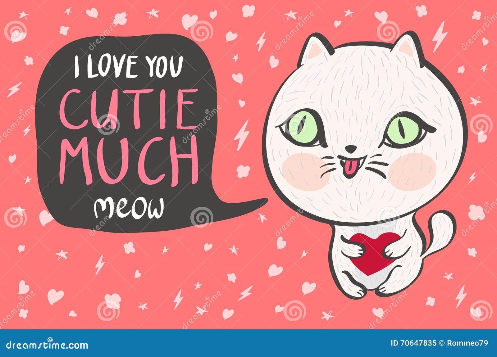 De vectorillustratie van een leuke witte kat met een hart zegt veel I-liefde u cutie Leuke romantische illustratie met grappige t