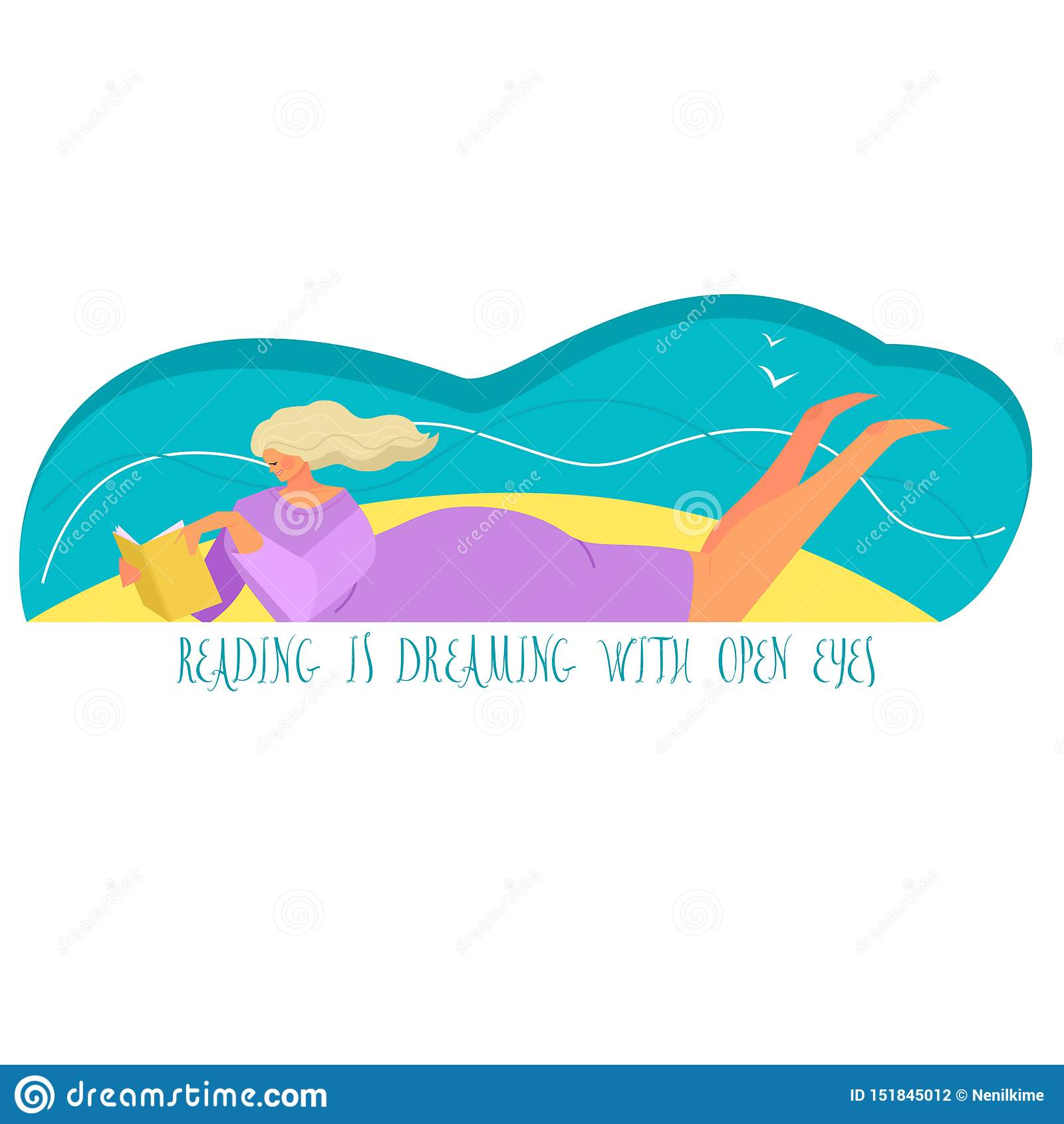 De vectorillustratie van een meisje die een boek op een strand het In stijl en kleuren Lezen lezen droomt met open ogen