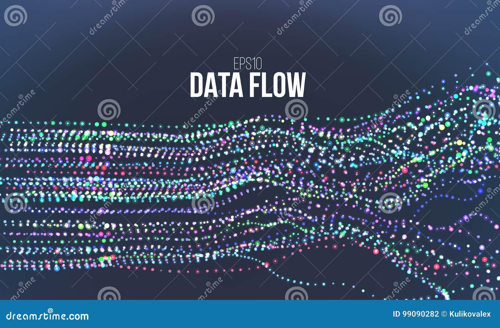 De vectorillustratie van de gegevensstroom De digitale stroom van het informatielawaai De berekening van de Blockchainstructuur