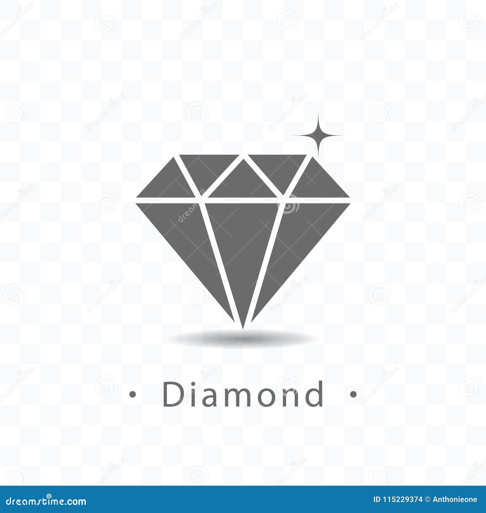 De vectorillustratie van het diamantpictogram op transparante achtergrond