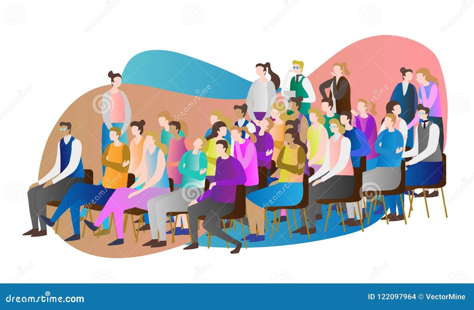 De vectorillustratie van het menigtepubliek Groep die mensen samen en het letten op toespraak, presentatie of conferentie zitten