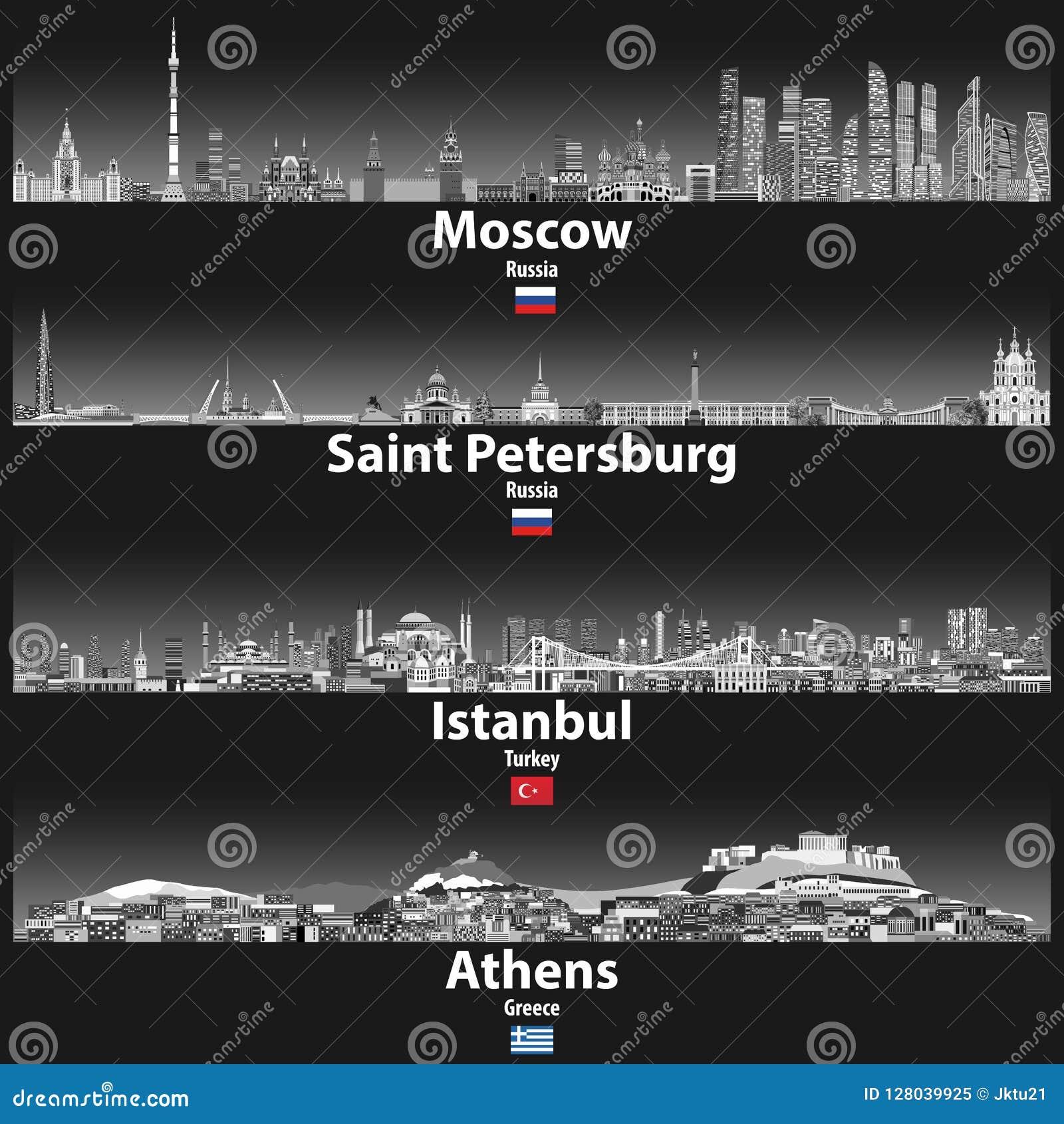 De vectorillustratie van de horizonnen van Moskou, van Heilige Petersburg, van Istanboel en van Athene bij nacht in grijze schale