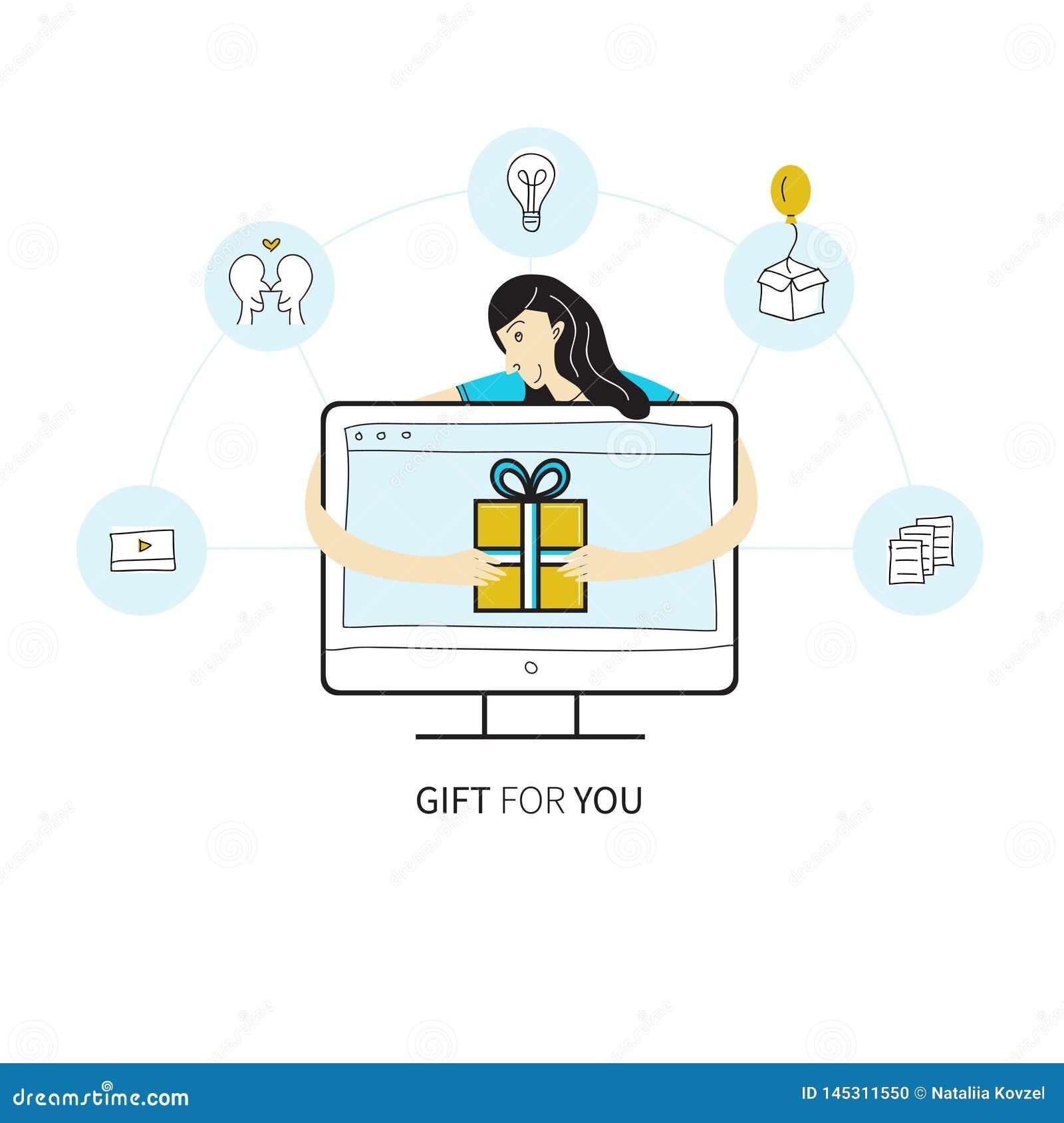 De vectorillustratie van de lijnstijl met het computerscherm, reeks e-mailpictogrammen in cirkels en meisje die huidige doos ontv