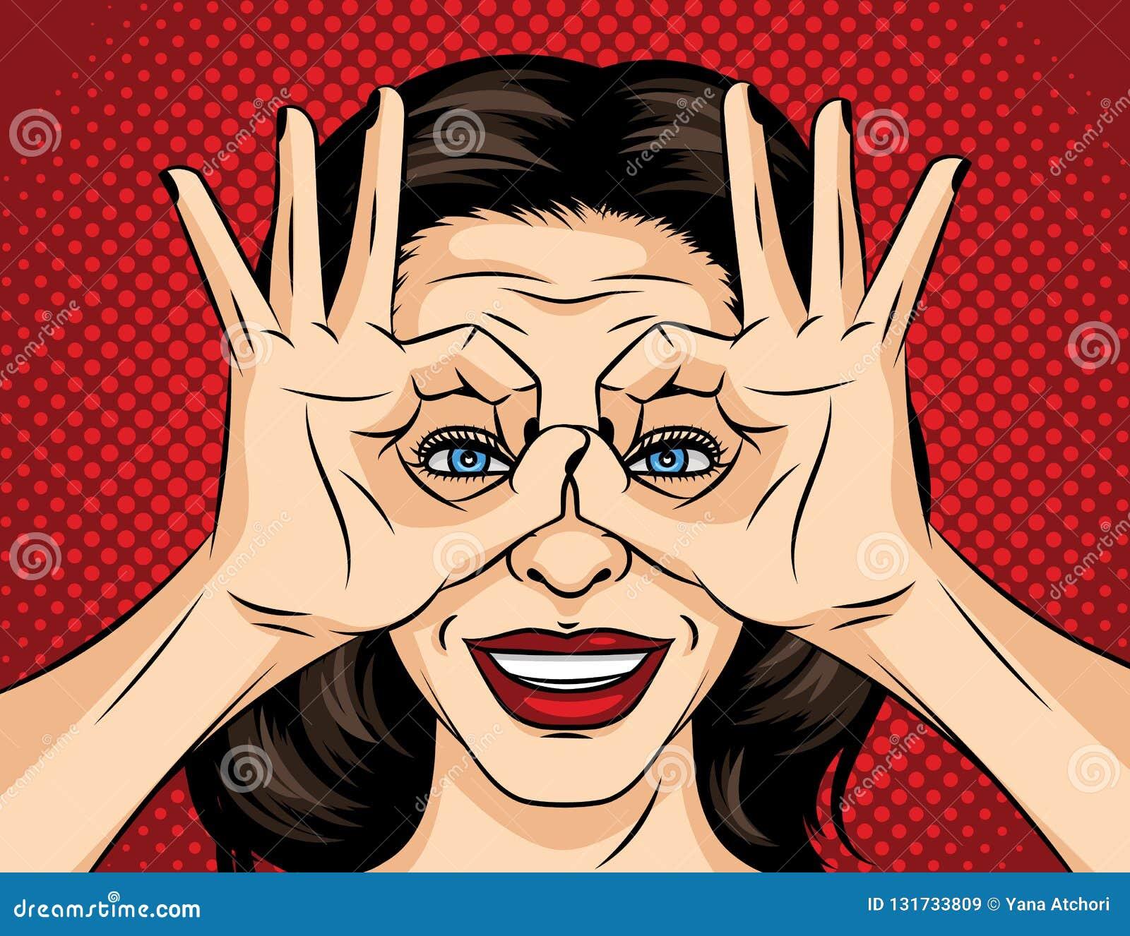 De vectorillustratie van de pop-art grappige stijl van een jong vrouwengezicht Een meisje op zoek naar iets Het meisje kruiste ha