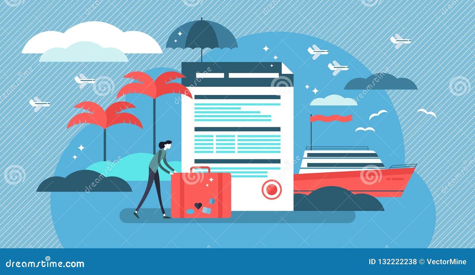 De vectorillustratie van de reisverzekering met gestileerde toerist en overeenkomst