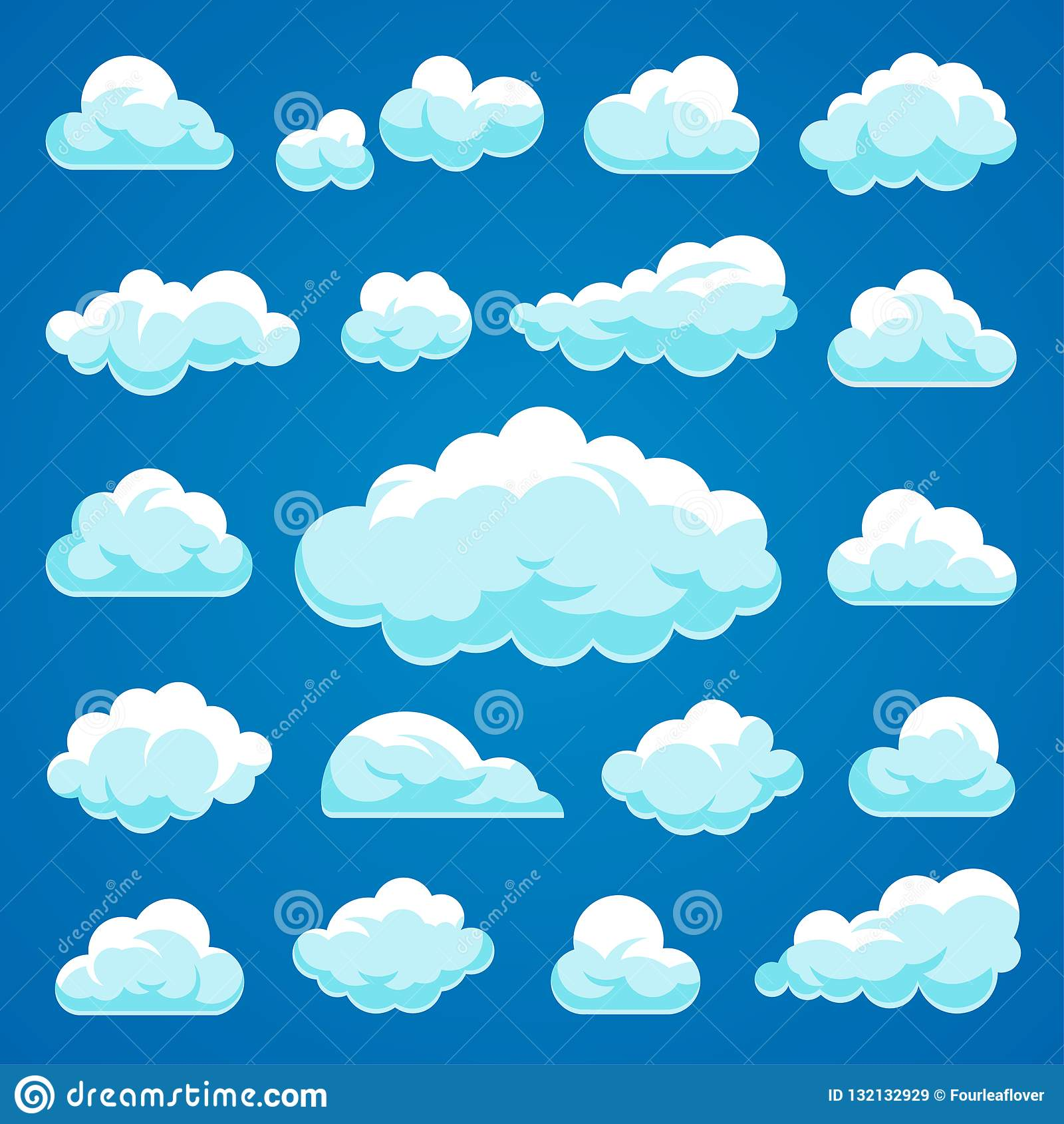 De vectorinzameling van beeldverhaalwolken