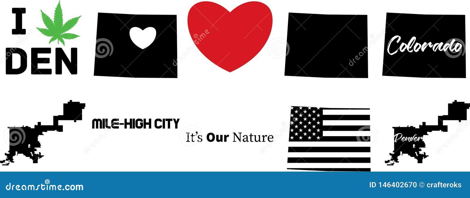 De vectorkaart van Denver Colorado met Amerikaanse vlag