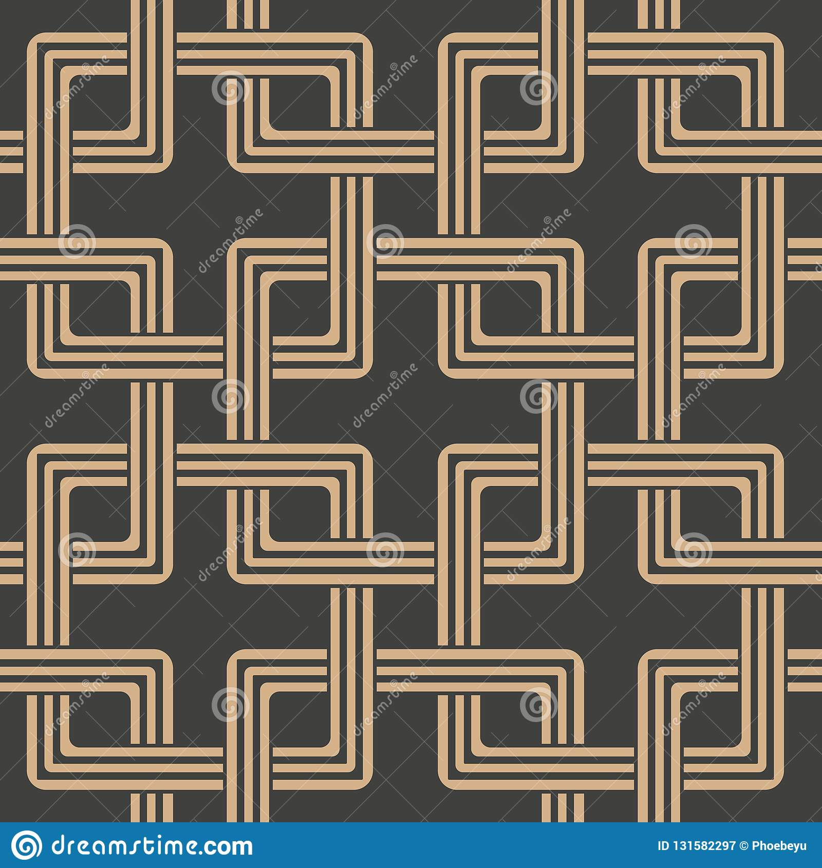 De vectorketen van het van het achtergrond damast naadloze retro patroon oosterse vierkante meetkunde dwarskader Het elegante ont