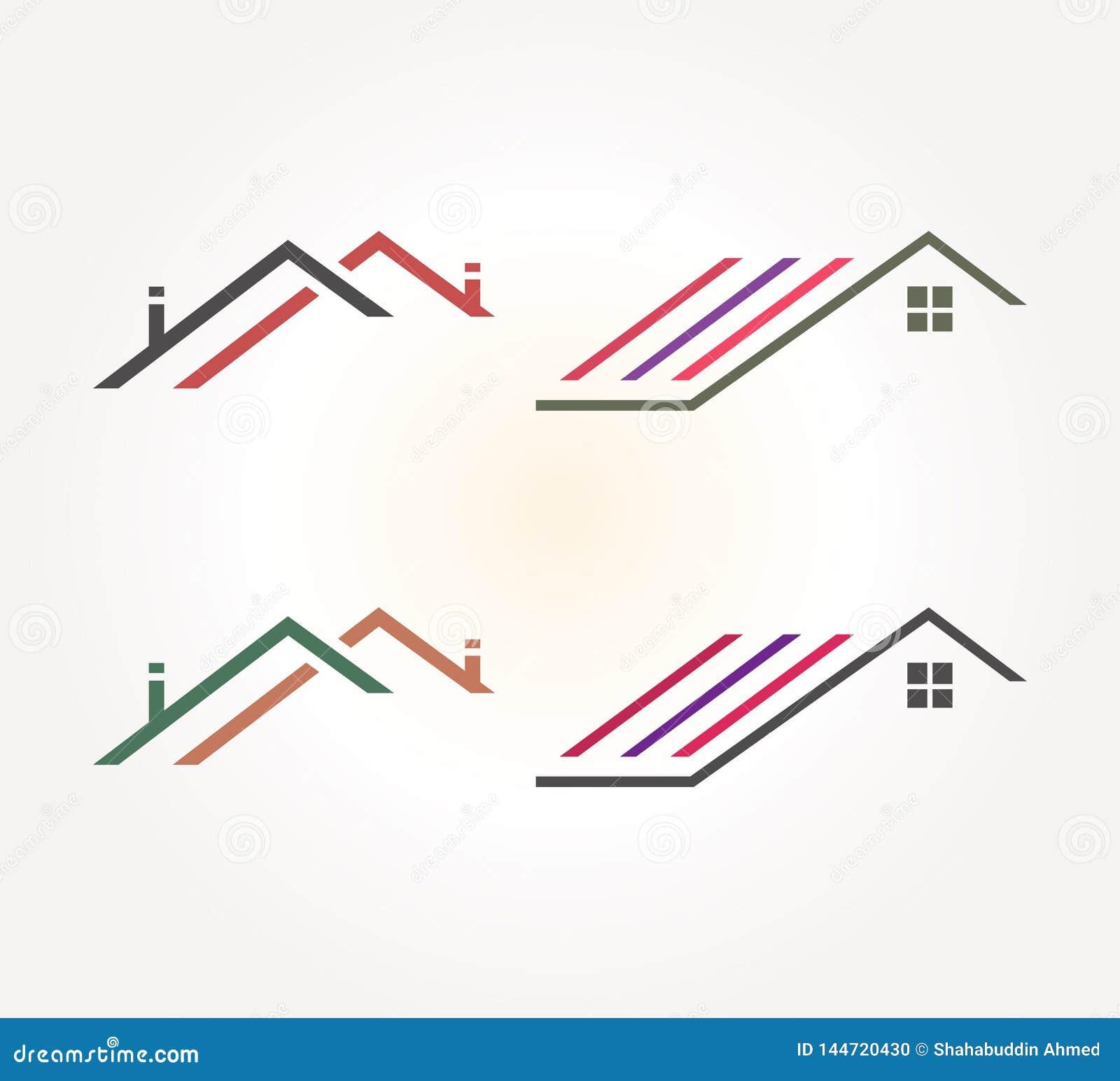 De Vectorlijn Logo Design van Real Estate Abstract het conceptenpictogram van het dakhuis