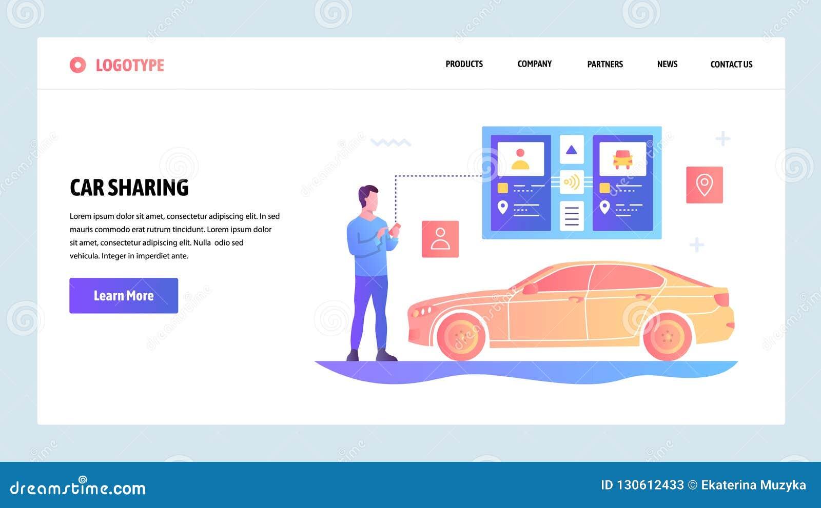 De vectorontwerpsjabloon van de websitegradiënt Auto het delen en taxi app Landingspaginaconcepten voor website en mobiel