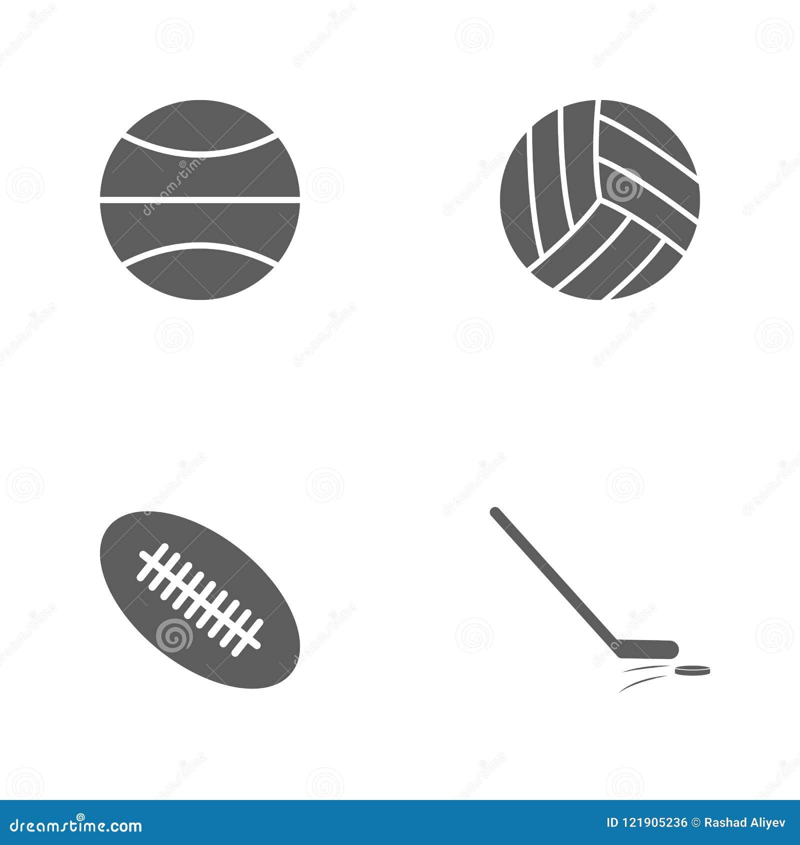 De vectorpictogrammen van de illustratie vastgestelde sport Elementenstok en wasmachine, van de rugbybal, van het volleyball en v