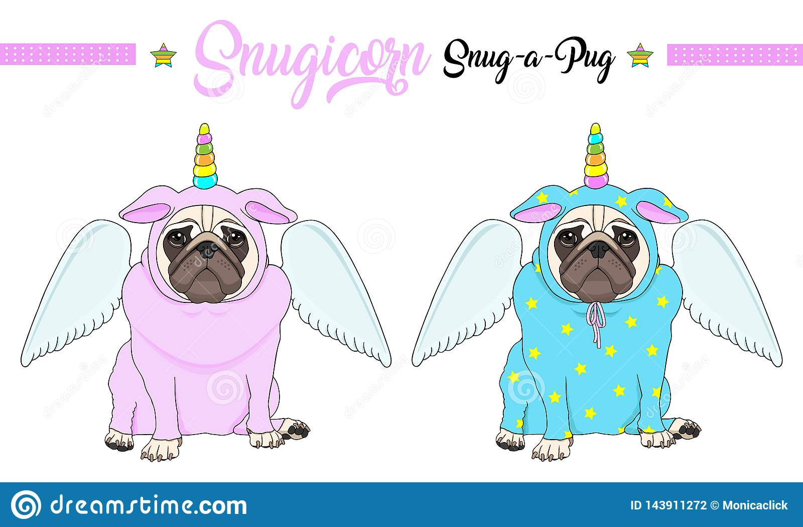 De vectorpug zitting van de puppyhond neer, dragend roze en blauwe jumpsuit met eenhoornhoorn met regenboogkleuren en engelenvleu