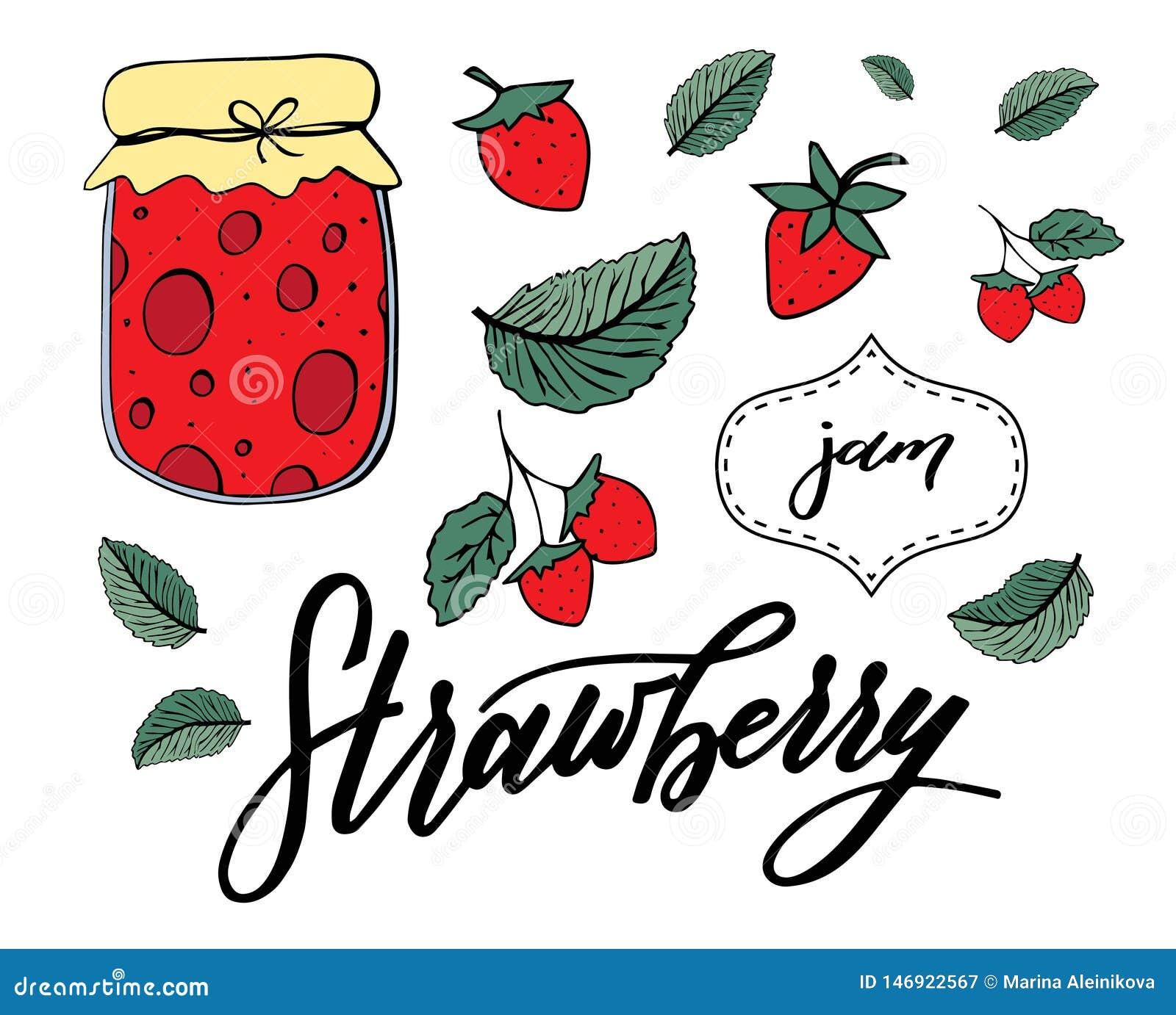 De vectorreeks aardbeien, doorbladert en jampot, ISO; ated op witte backgroung