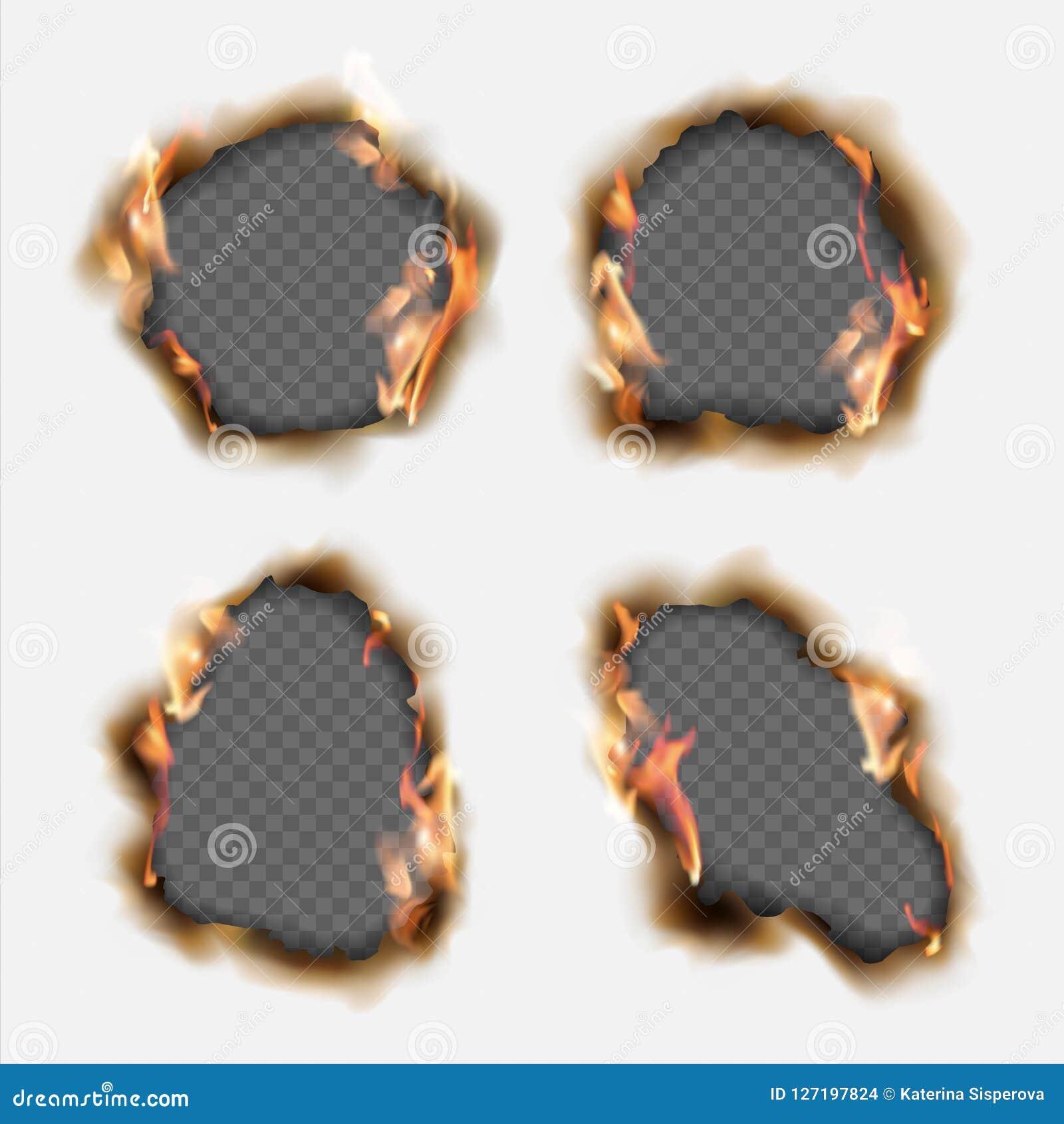 De vectorreeks realistische gaten brandde in document met bruine randen