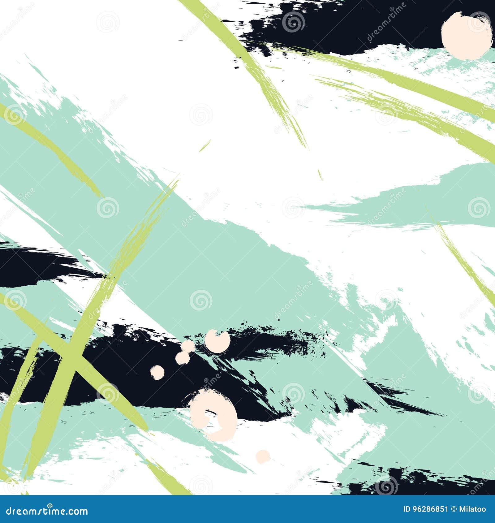 De vectorverf van de borstelslag in groene marinekleuren Abstracte creatieve acryl verse slagplons Ploeter achtergrond