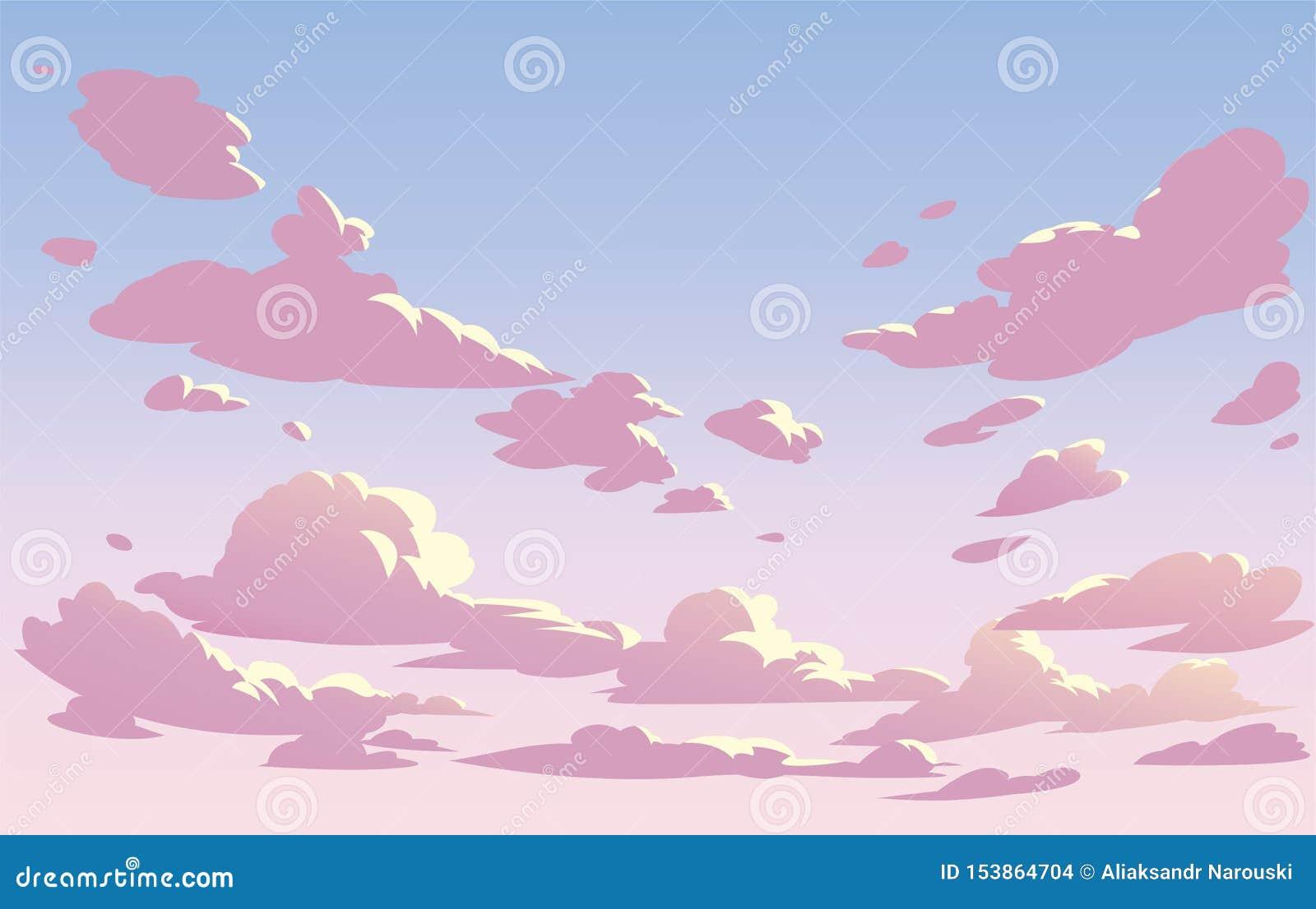 De vectorwolken van de landschapshemel Roze hemel
