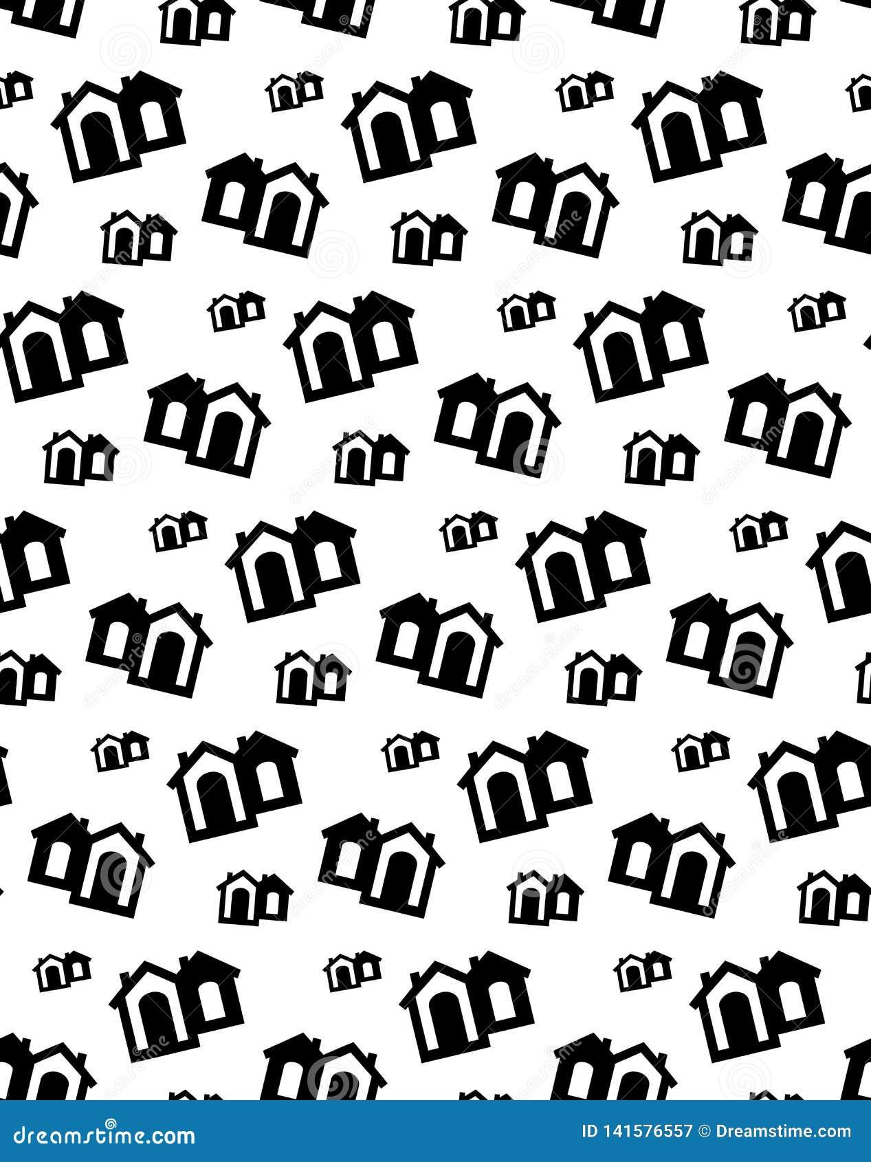 De vectorzwarte van het huispatroon De leuke achtergrond van de huisflat