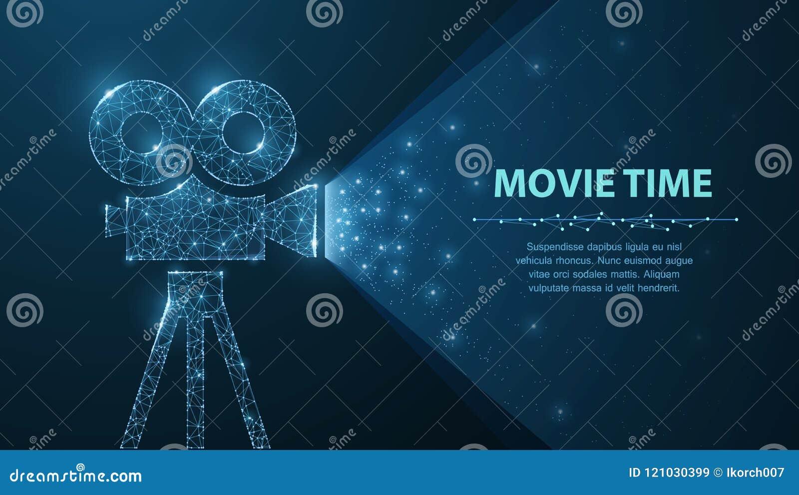De veelhoekige wireframefilmprojector toont film bij nacht op donkerblauw met sterren in licht hem