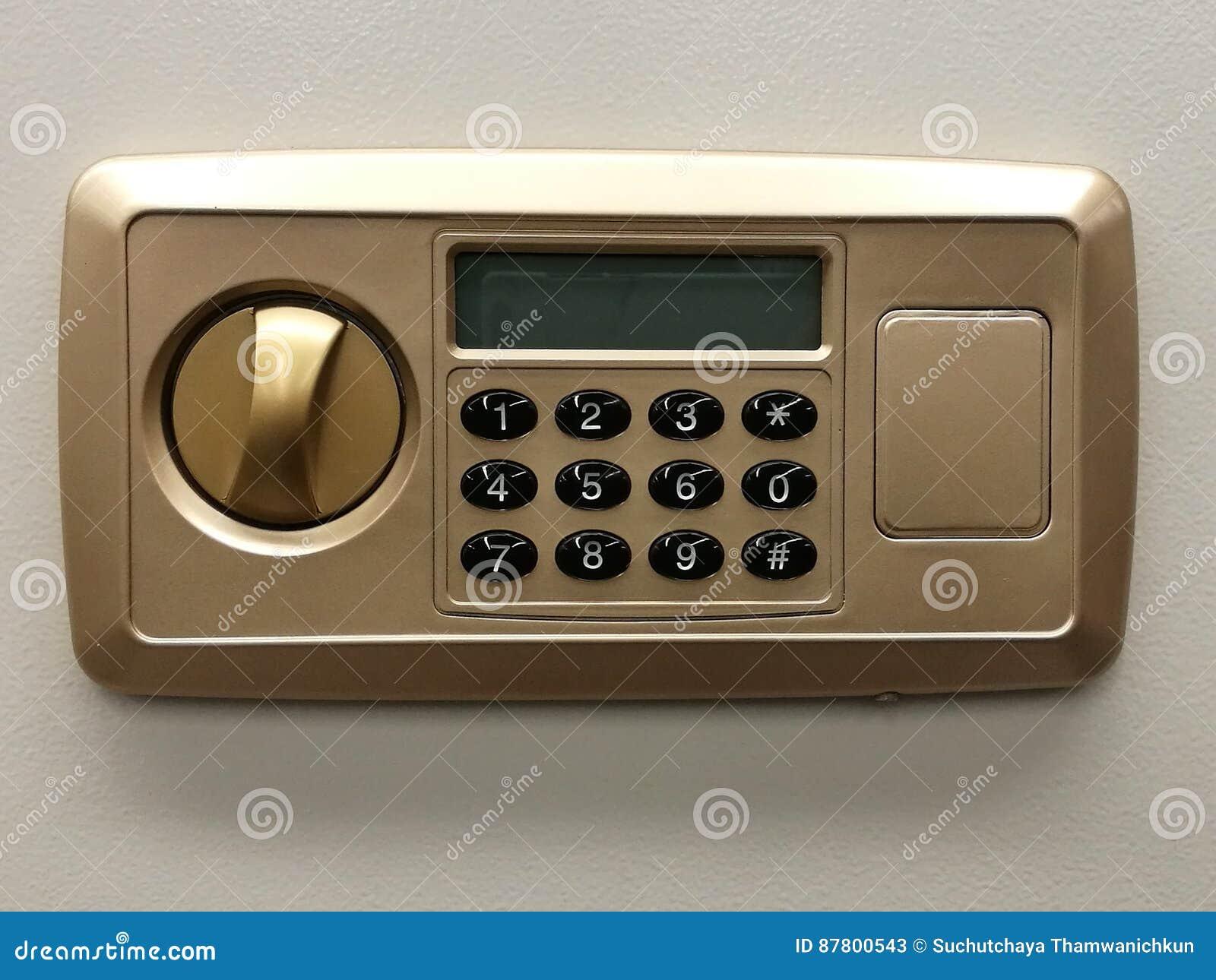 De veilige deur van de slotcode op de bank van de veiligheidsdoos, veilig close-up, bescherming, veiligheidsslot, bankwezen en fi