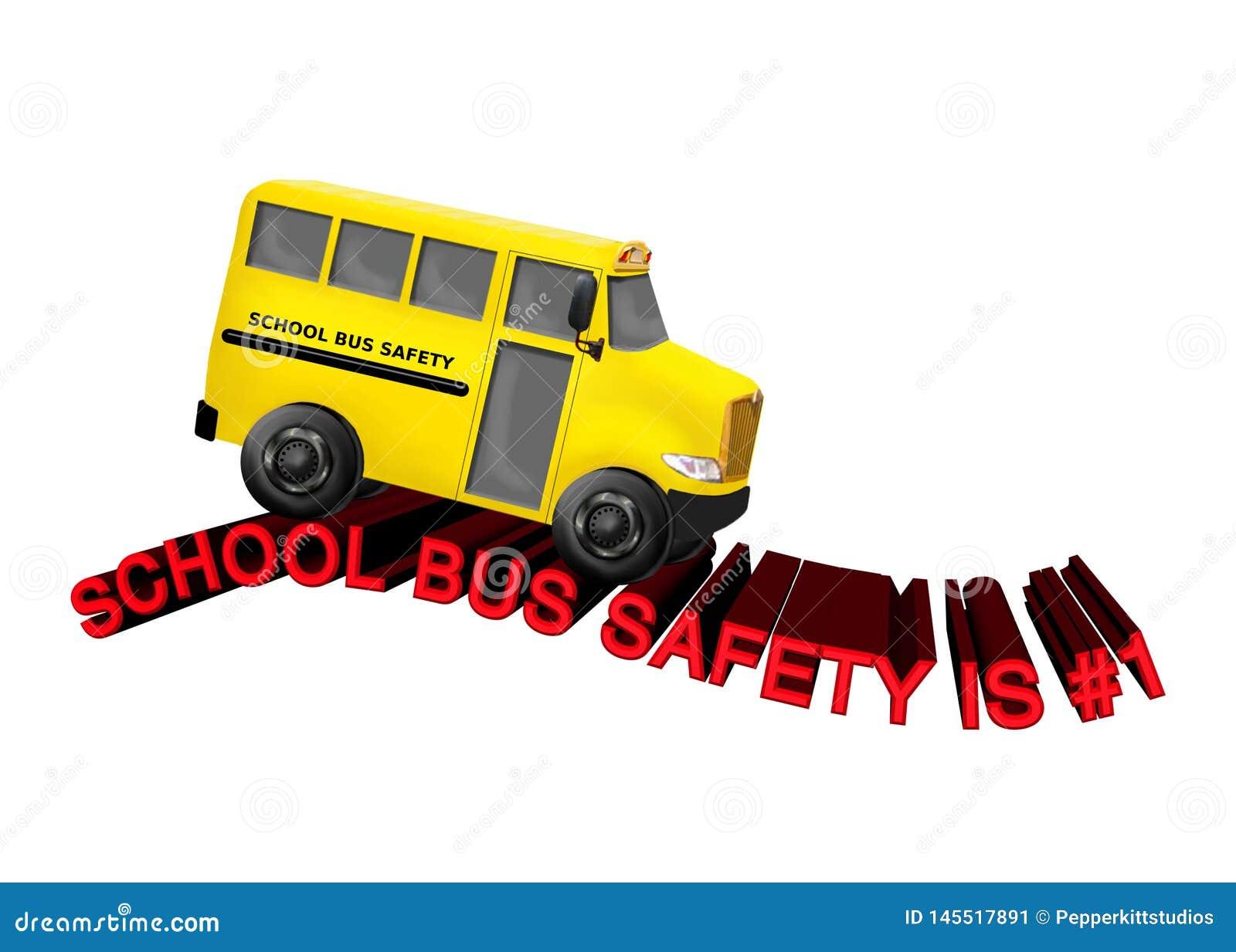 De Veiligheid van de schoolbus is #1 - Gele Busritten op Rode 3D Tekstweg