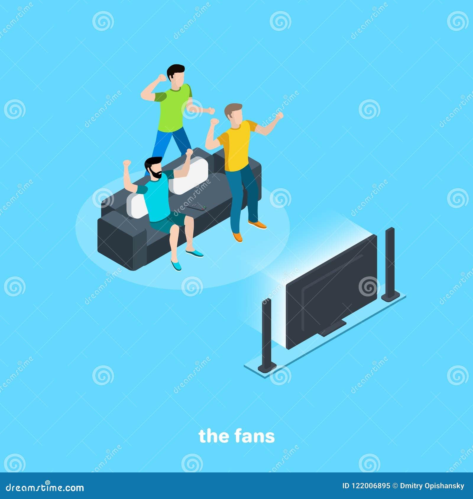 De ventilators zijn ziek voor voetbal lettend op TV