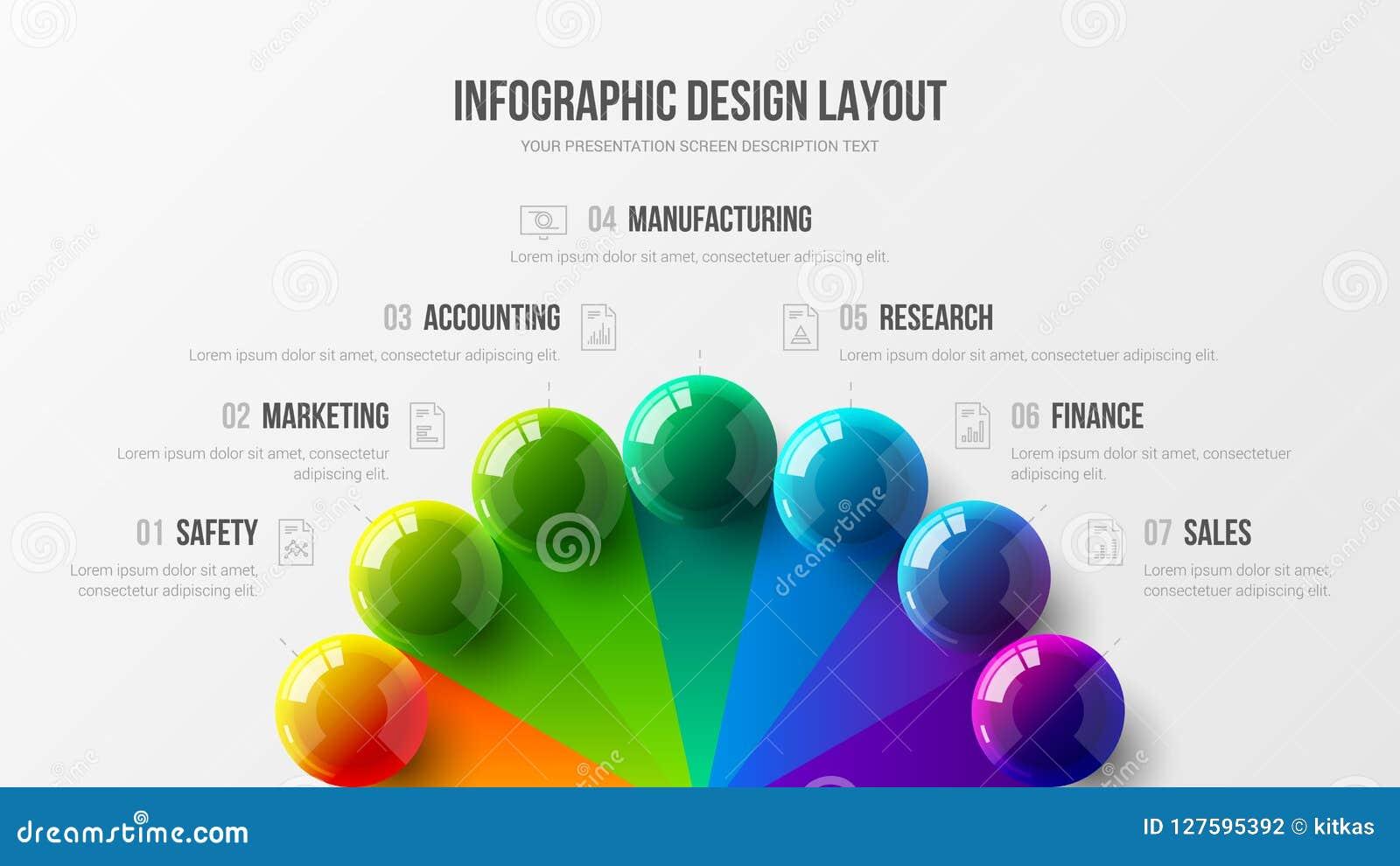 De verbazende illustratie van bedrijfs infographic presentatie vector 3D kleurrijke ballen Marketing de lay-out van het het rappo