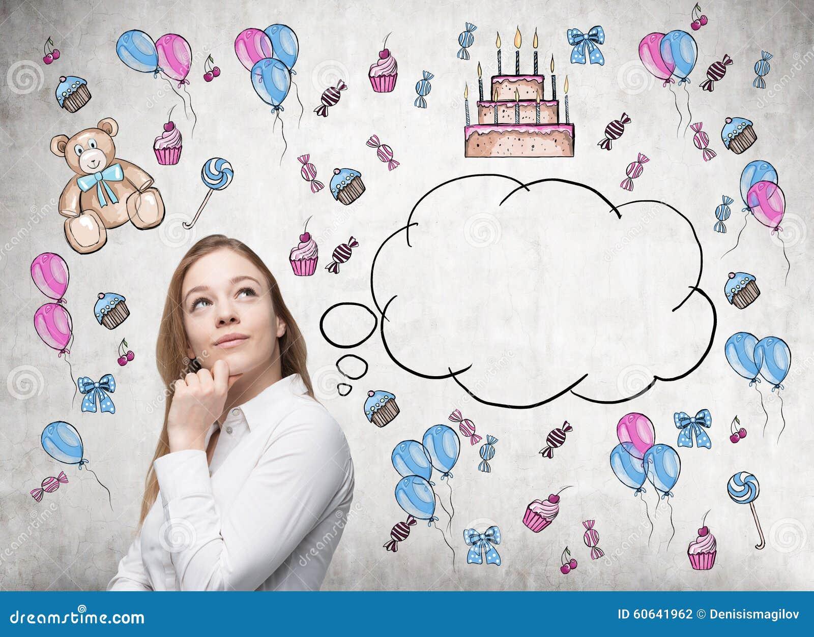 De Verbazingwekkende Dame Droomt Over Haar Verjaardag Stock Foto