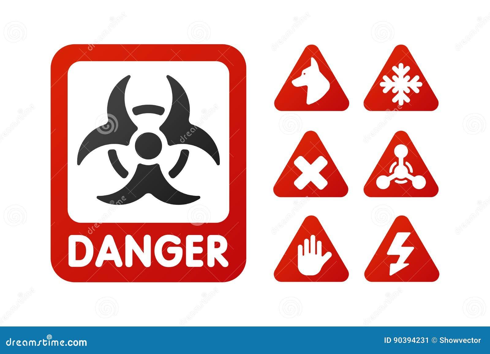 De verbodstekens plaatsen de industrieproductie vector geel rood waarschuwingsgevaarsymbool verboden veiligheidsinformatie en