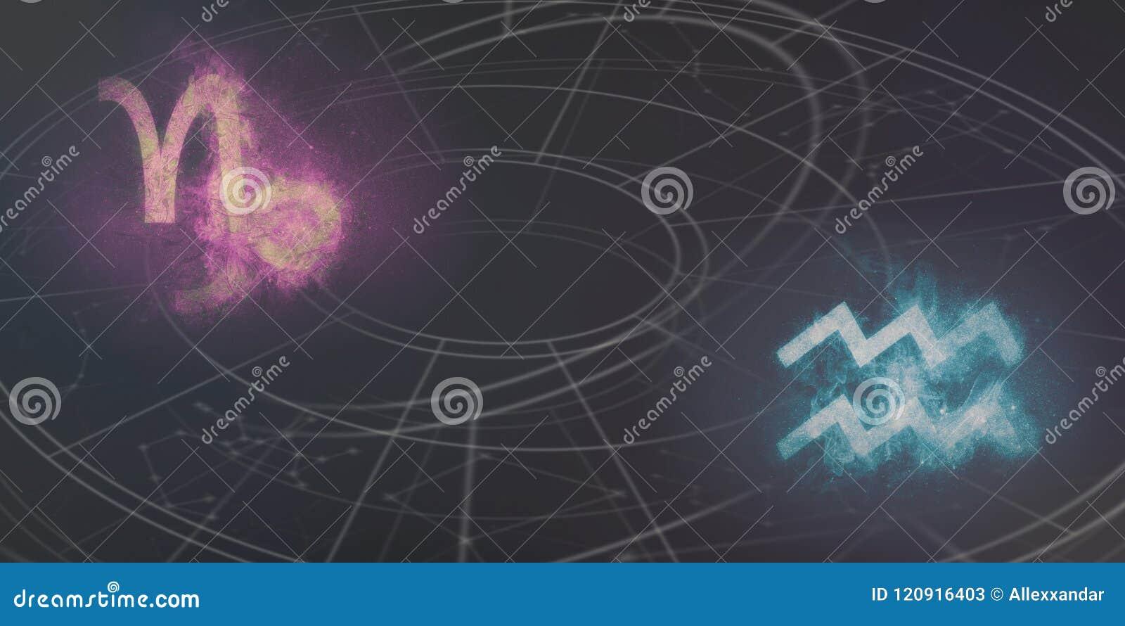De verenigbaarheid van de horoscooptekens van Steenbok en van Waterman De hemel van de nacht