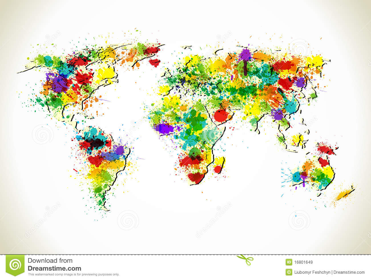 World Map To Color In Paint