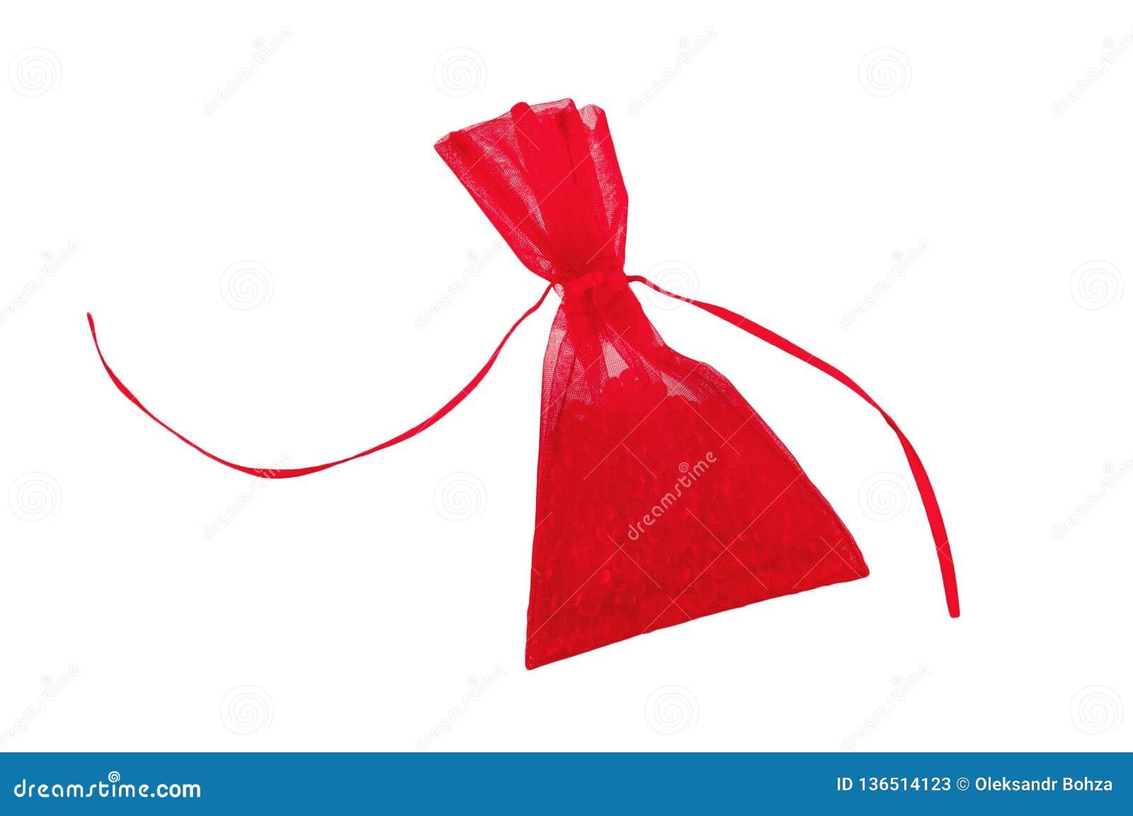 De verfrissing van de autolucht in vorm van volledige rode die zak van halfedelstenen op wit wordt geïsoleerd