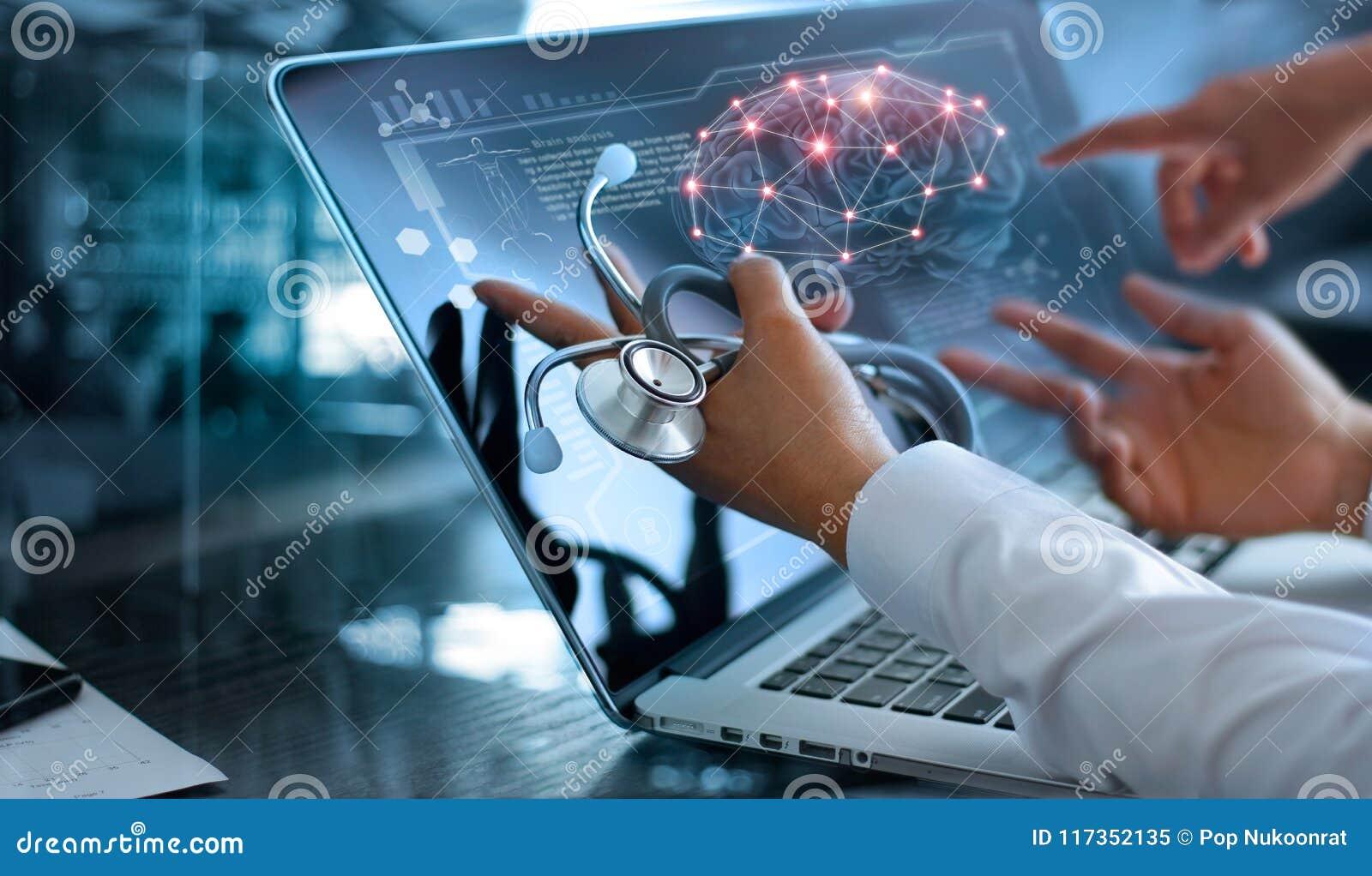 De vergadering en de analyse van het artsenteam Diagnostiseer het controleren van hersenen
