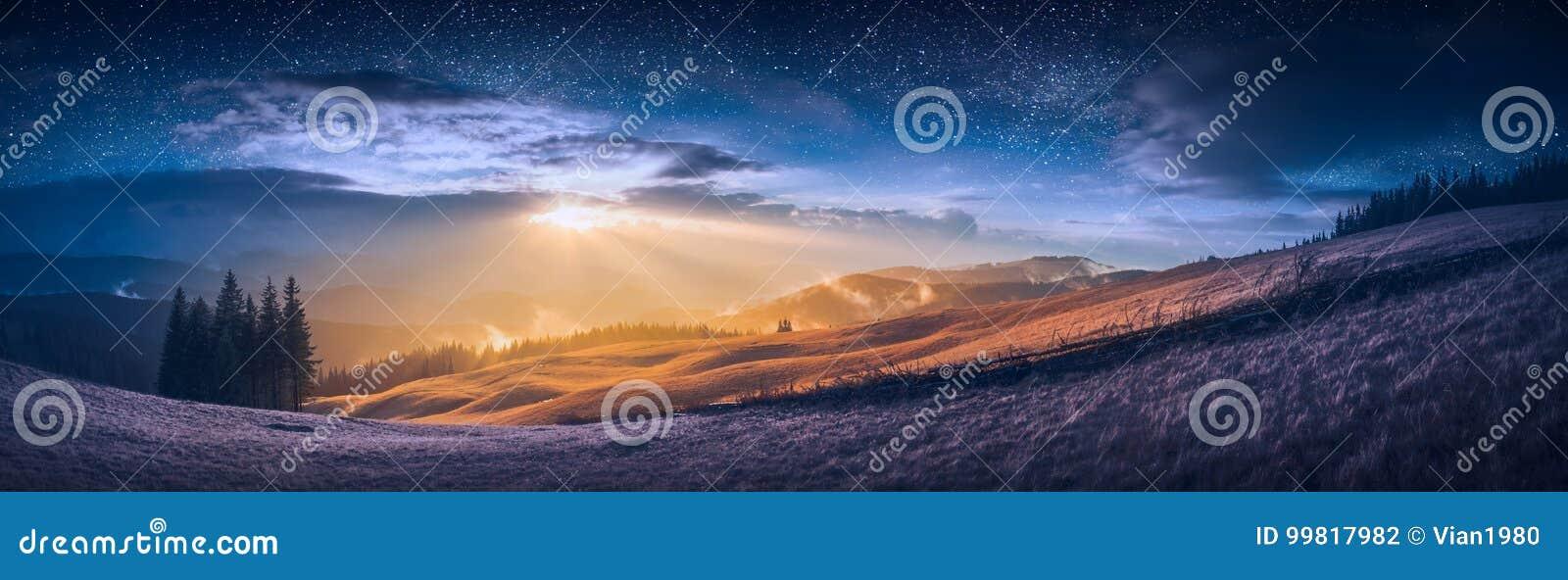 De vergadering van dag en nacht in een bergvallei