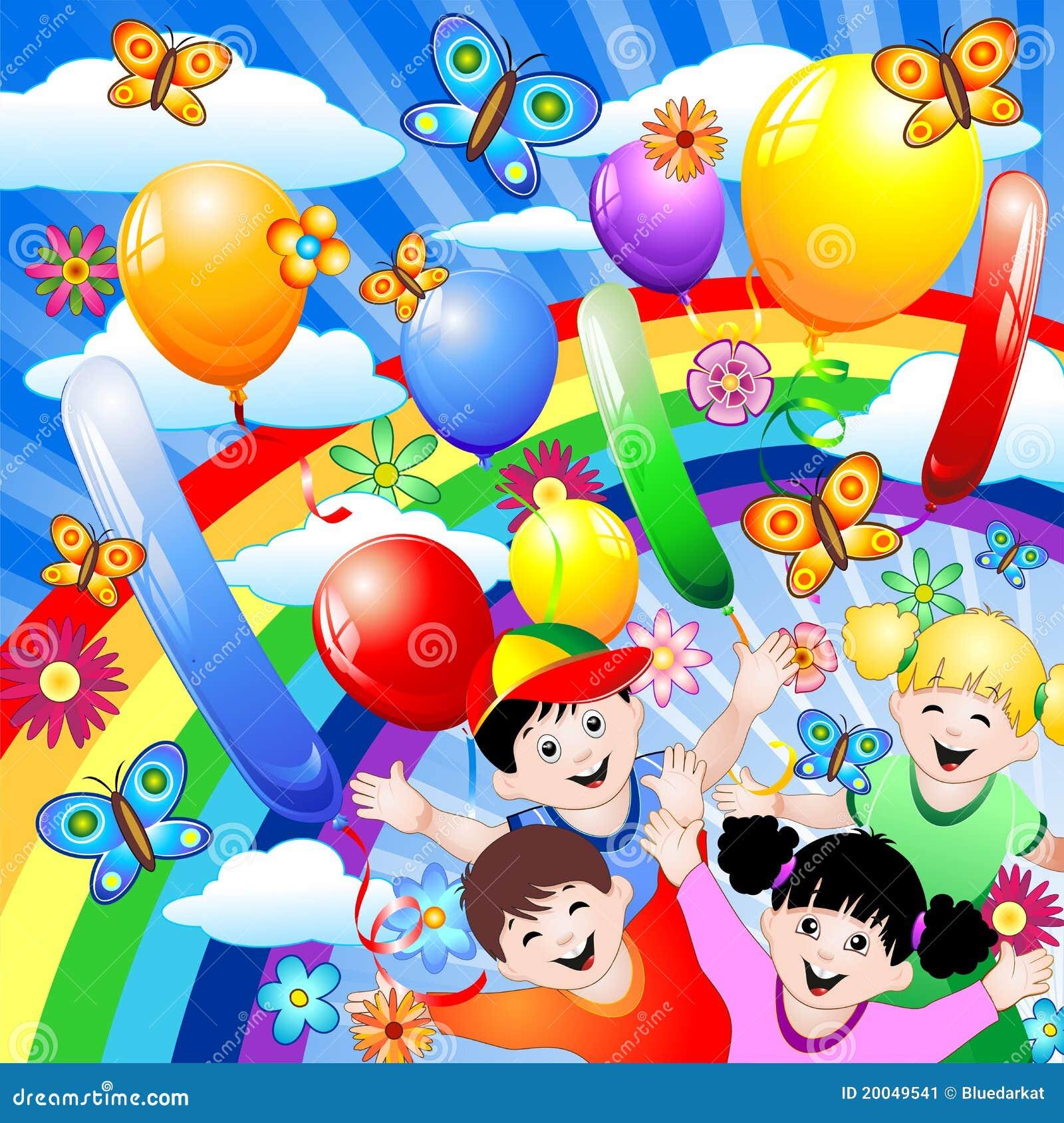 De Verjaardag Van Gelukkige Kinderen Vector Illustratie