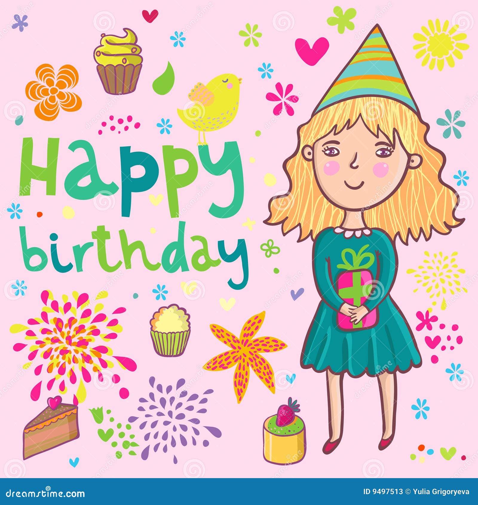 De Verjaardag Van Meisjes Stock Illustratie Illustratie Bestaande