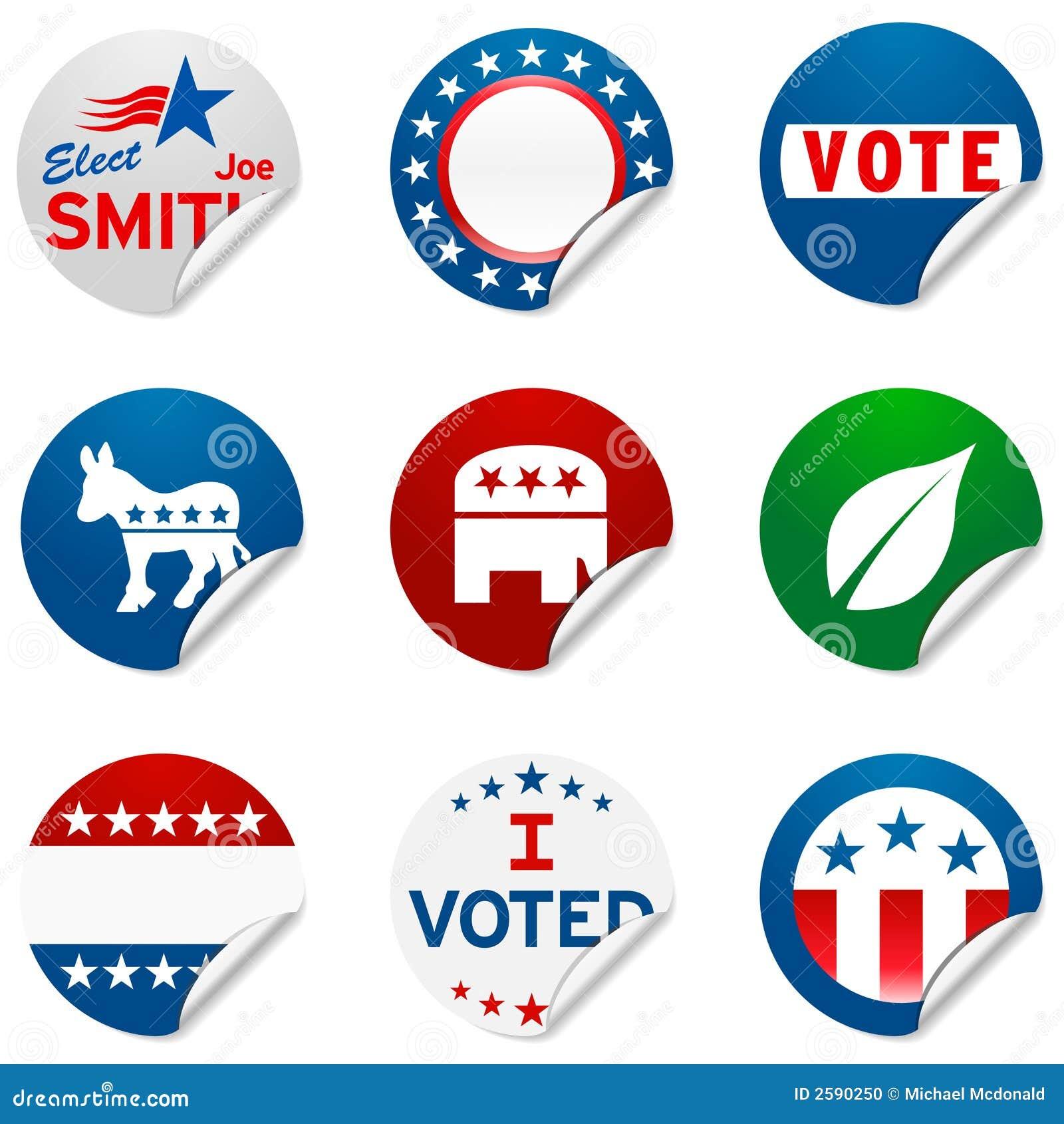 De verkiezingsstickers van de campagne