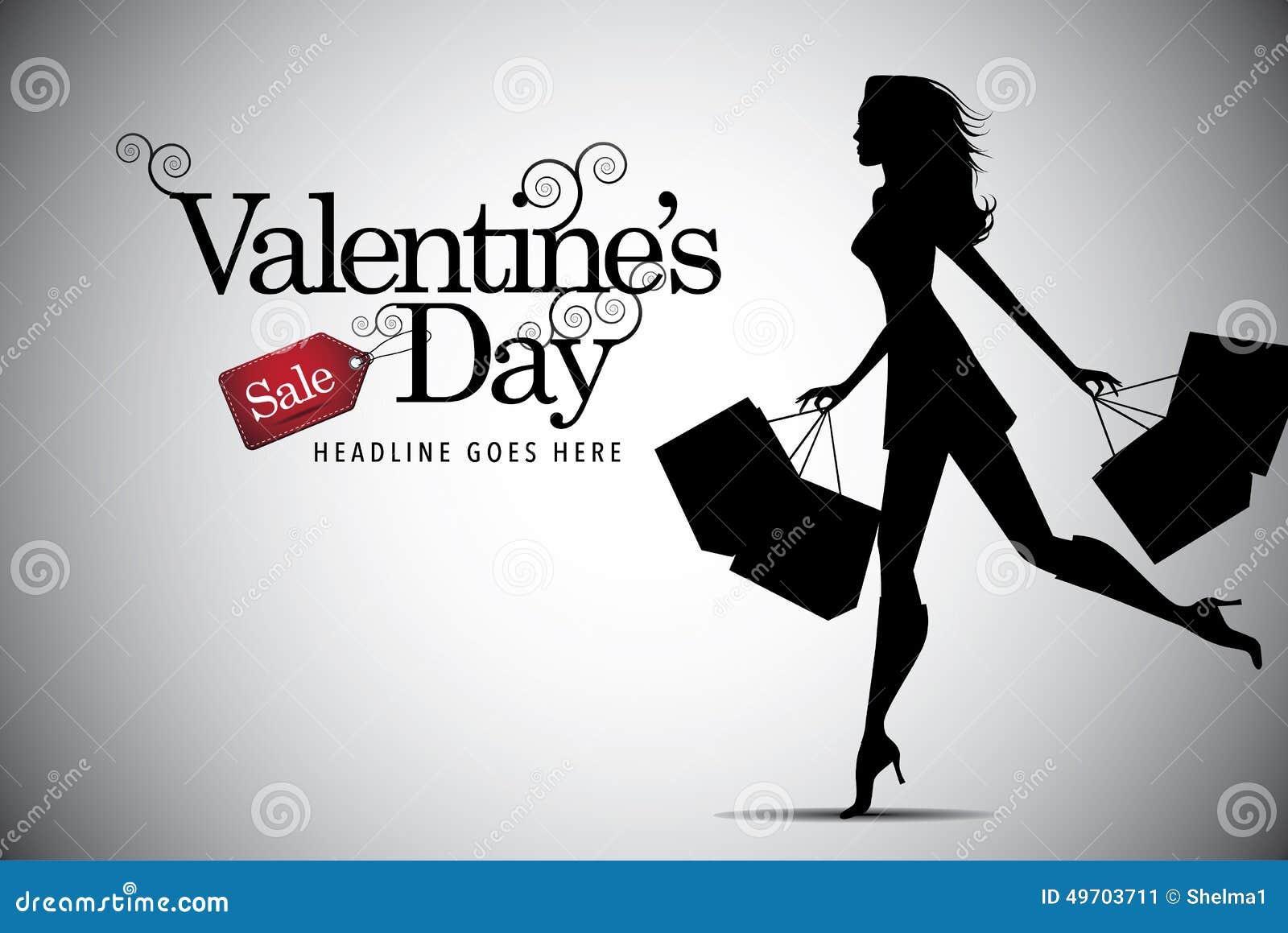 De verkoop van de valentijnskaartendag het winkelen vrouwenachtergrond