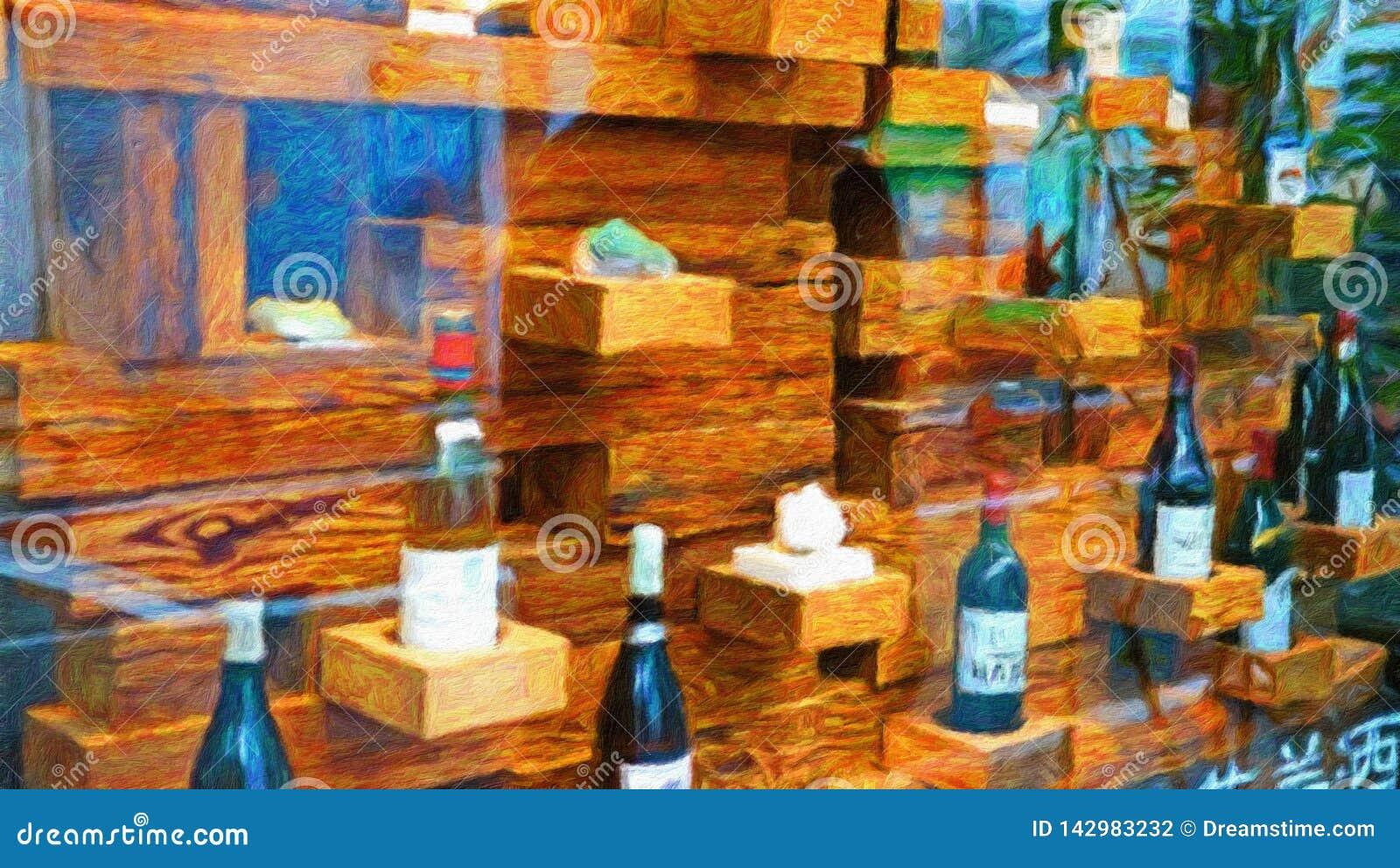 De verkoopindruk van het wijnvenster van foto