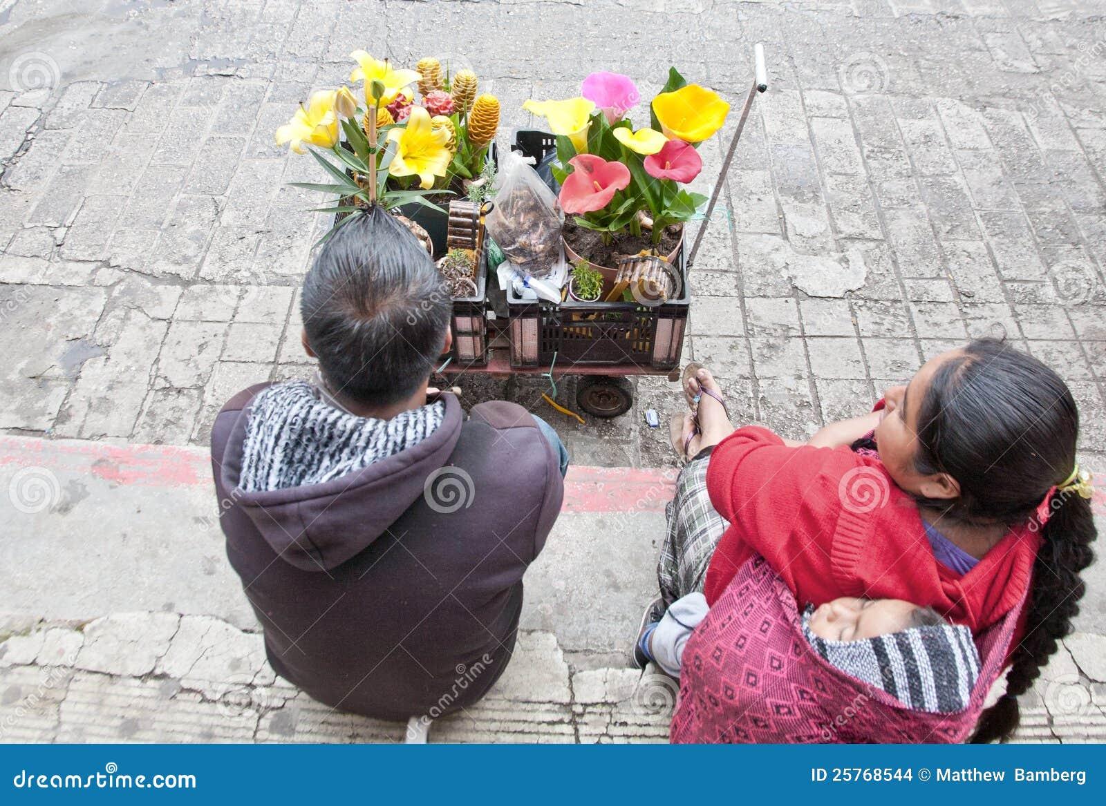 De Verkopers van de bloem in Chiapas, Mexico