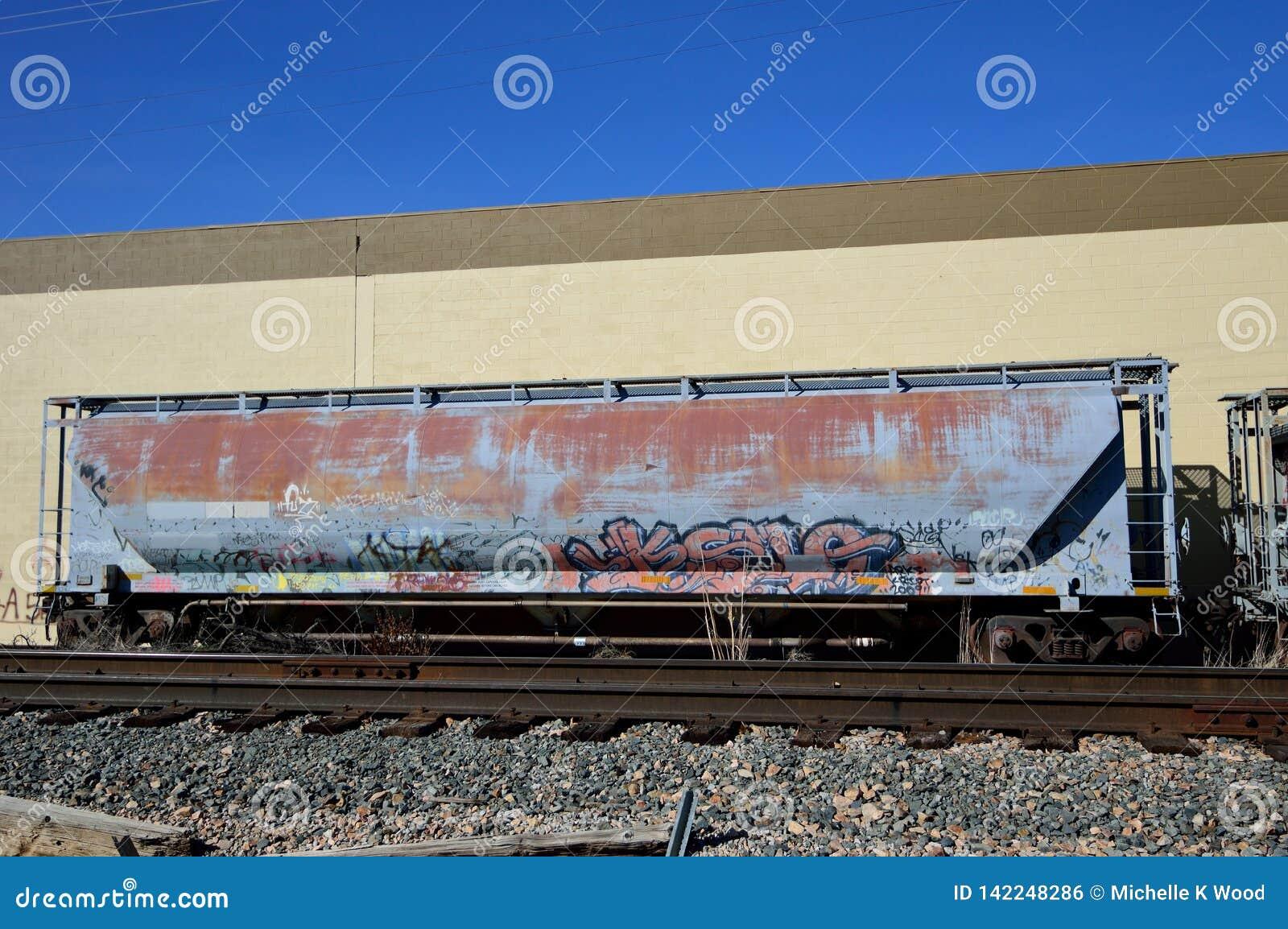 De verlaten roestige graffiti van de treinauto