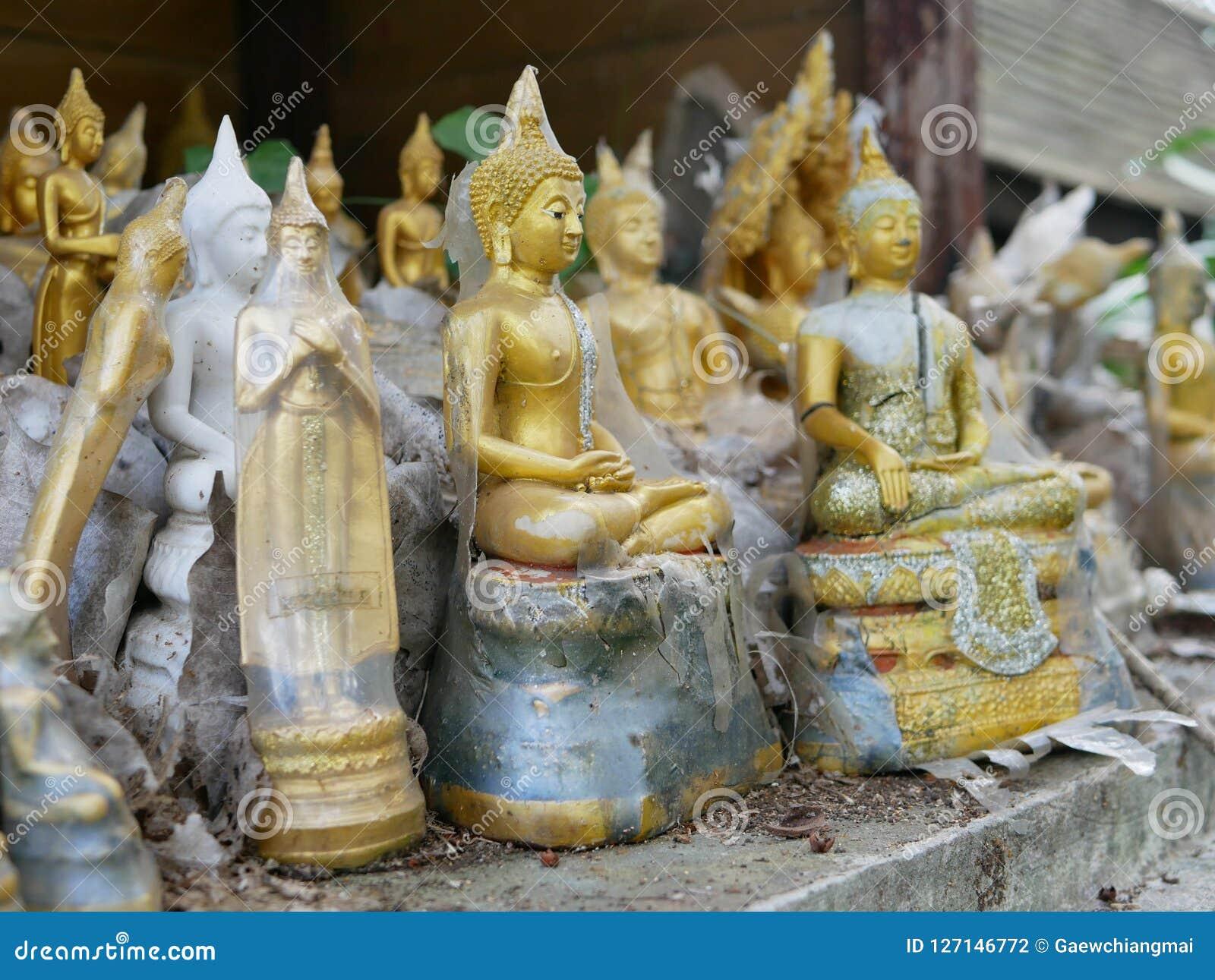 De verlaten standbeelden/de beelden van Boedha op oud geesthuis