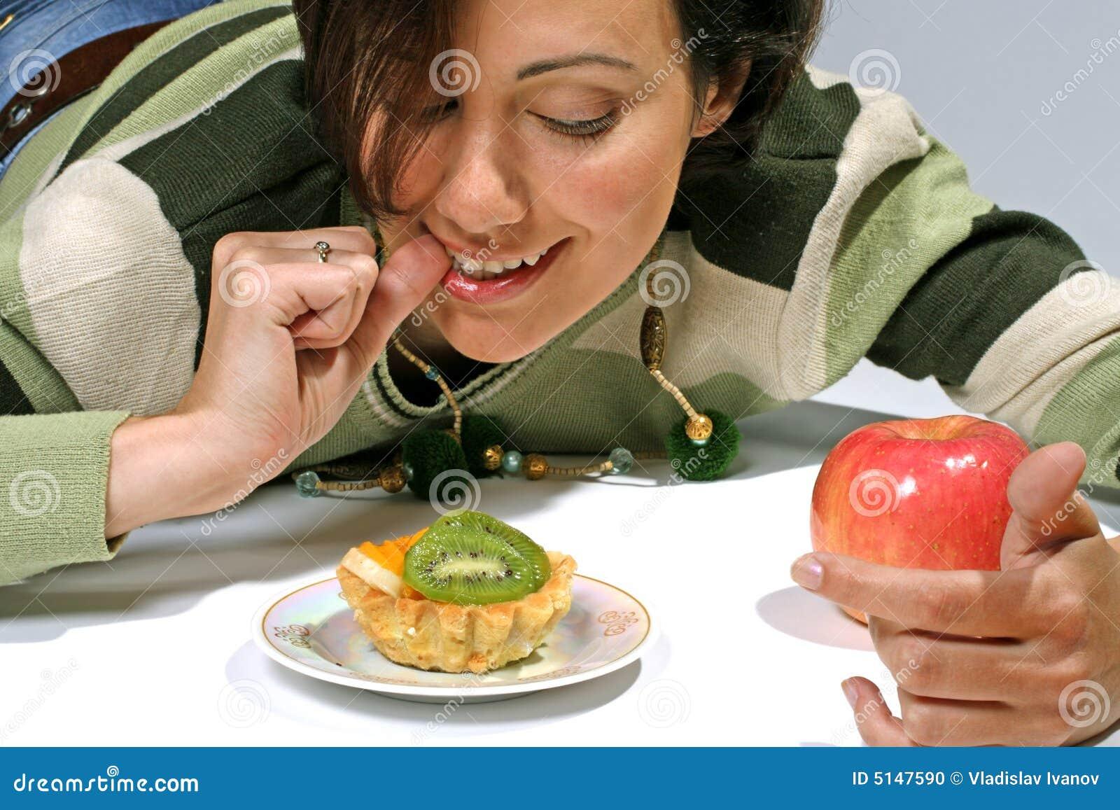 De verleiding van het dieet - cake tegen appel