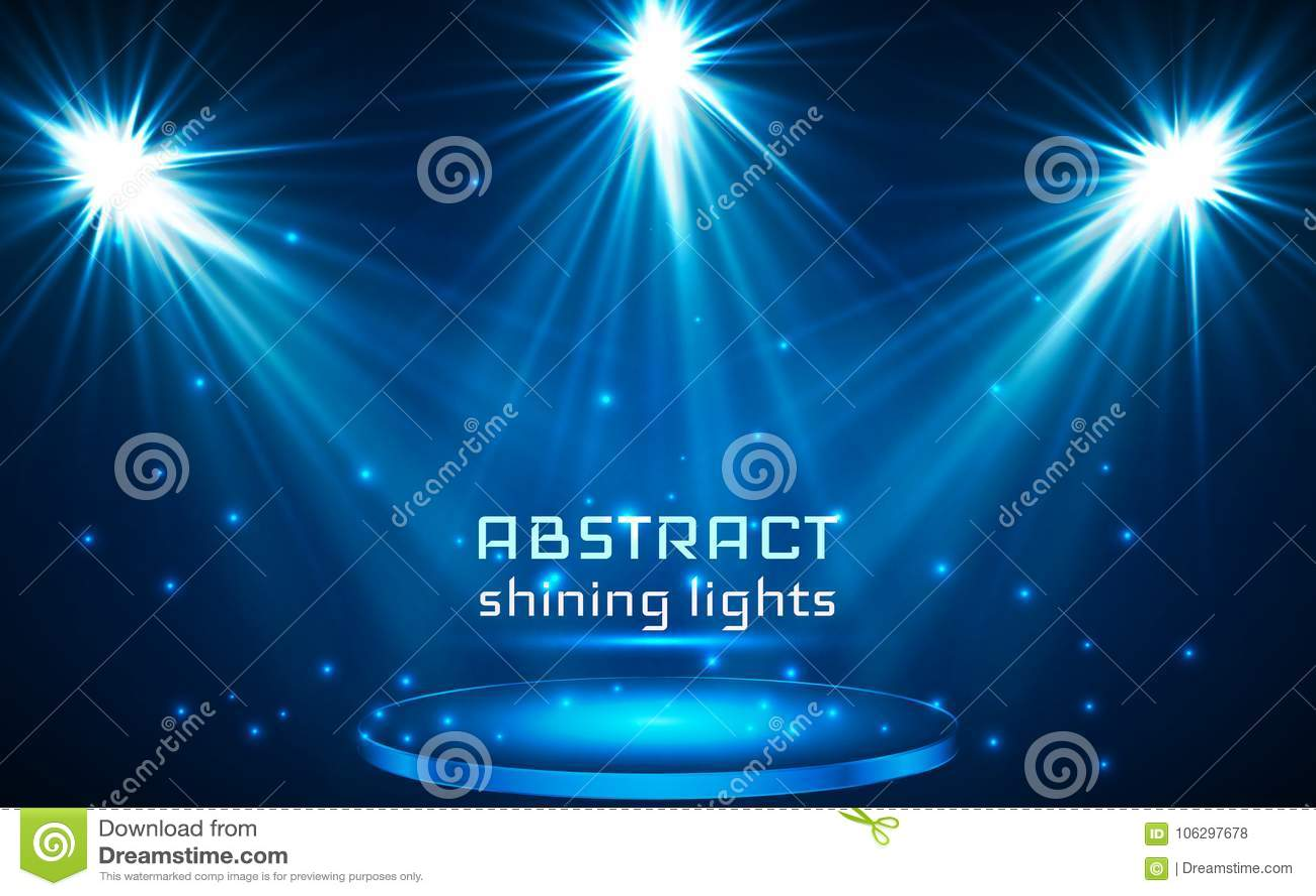 De verlichting van de stadiumvlek Magisch licht Blauwe vectorachtergrond