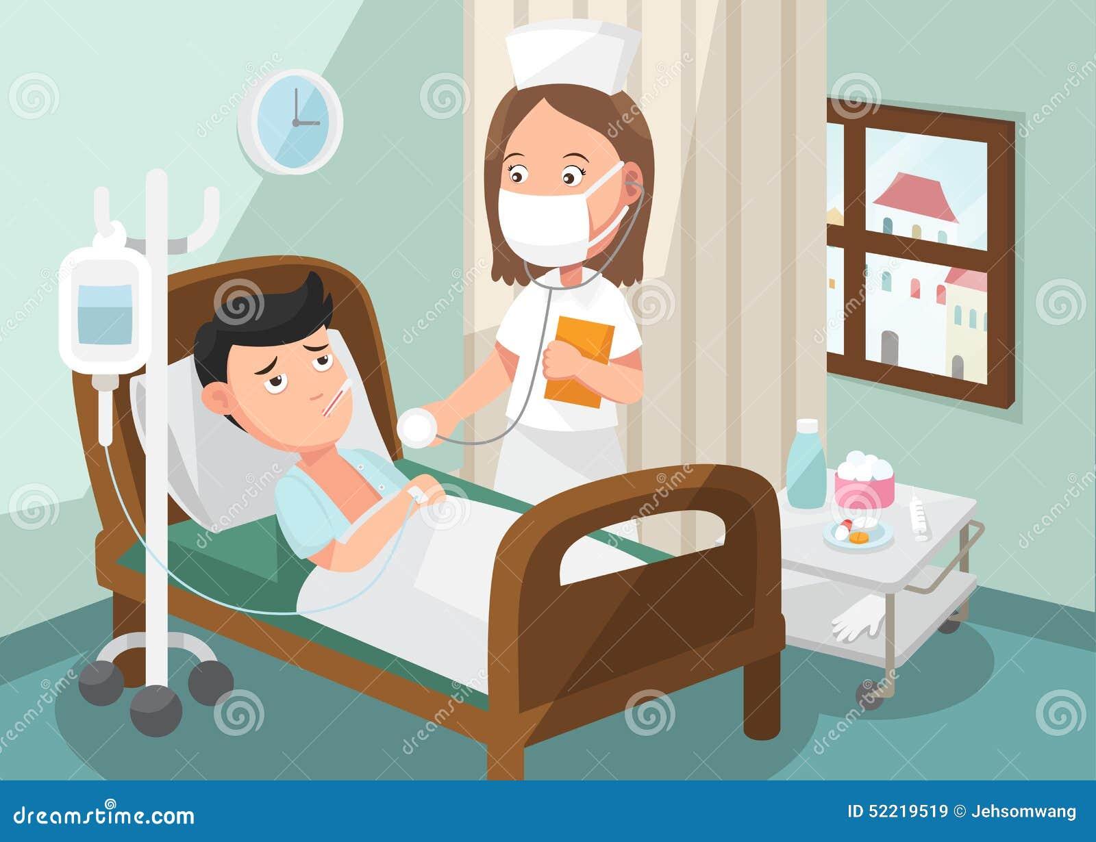 De verpleegster die patiënt in de afdeling van het ziekenhuis behandelen