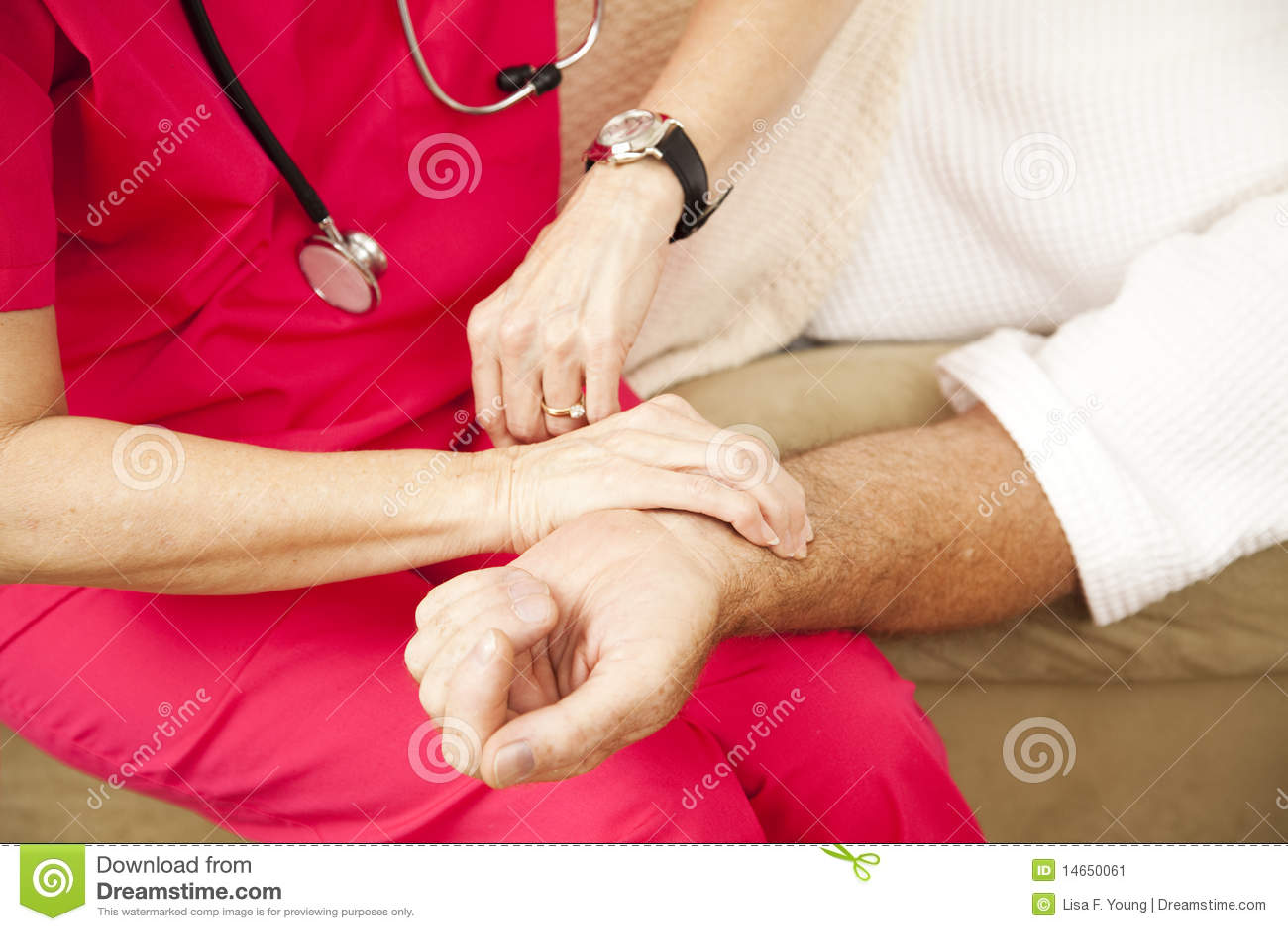 De Verpleegster die van de Gezondheid van het huis - Impuls neemt